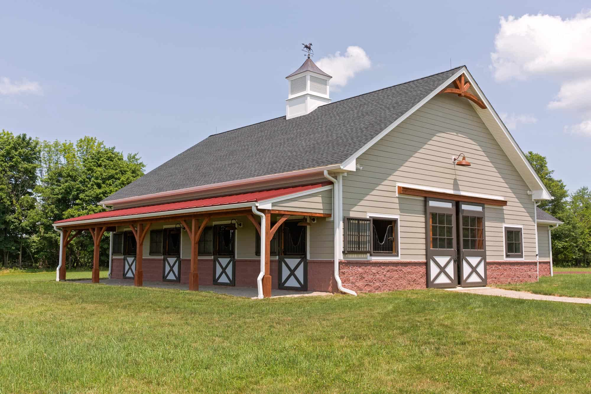 cupola red roof mass timber horse stalls