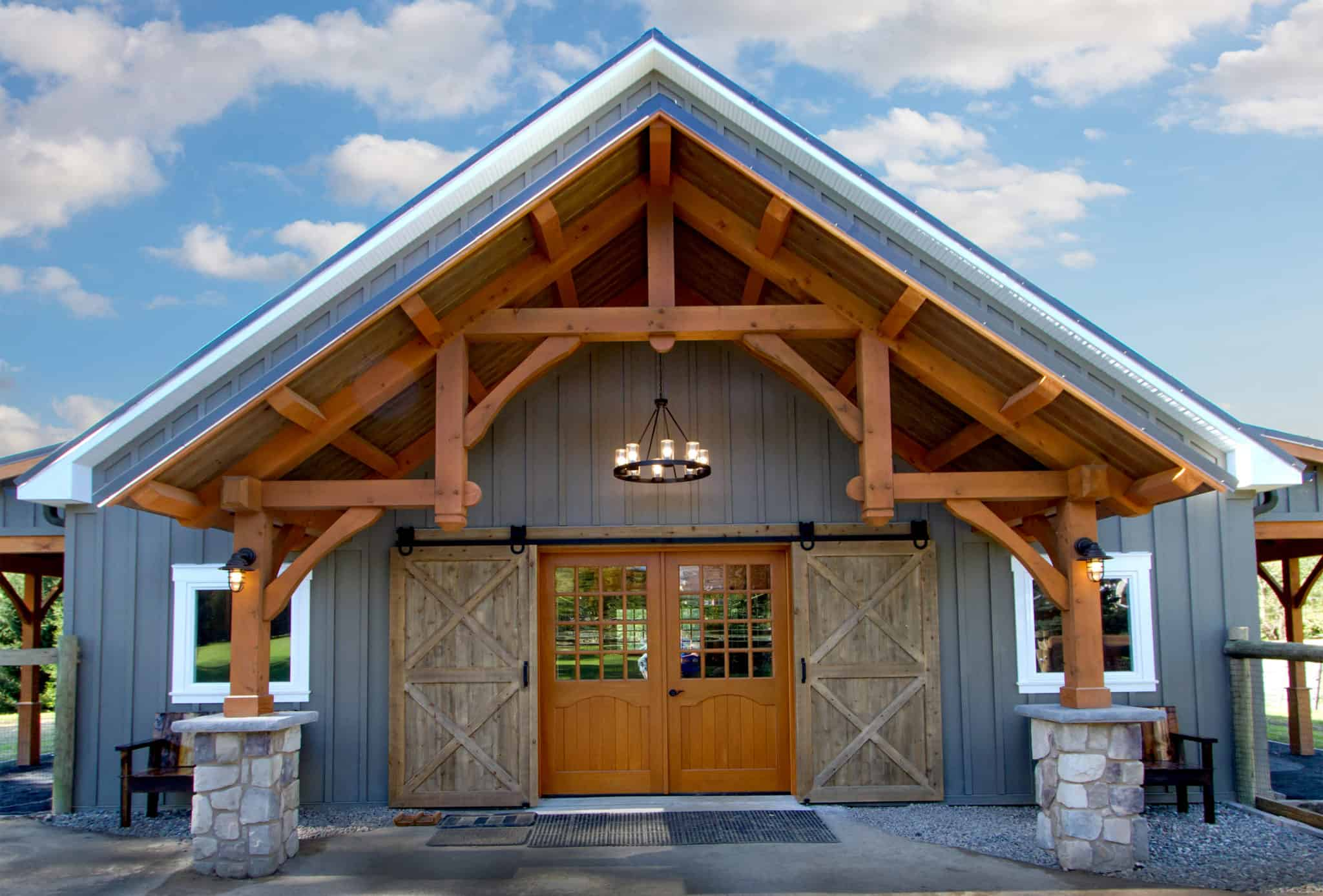 horse stalls mass timber grand entryway