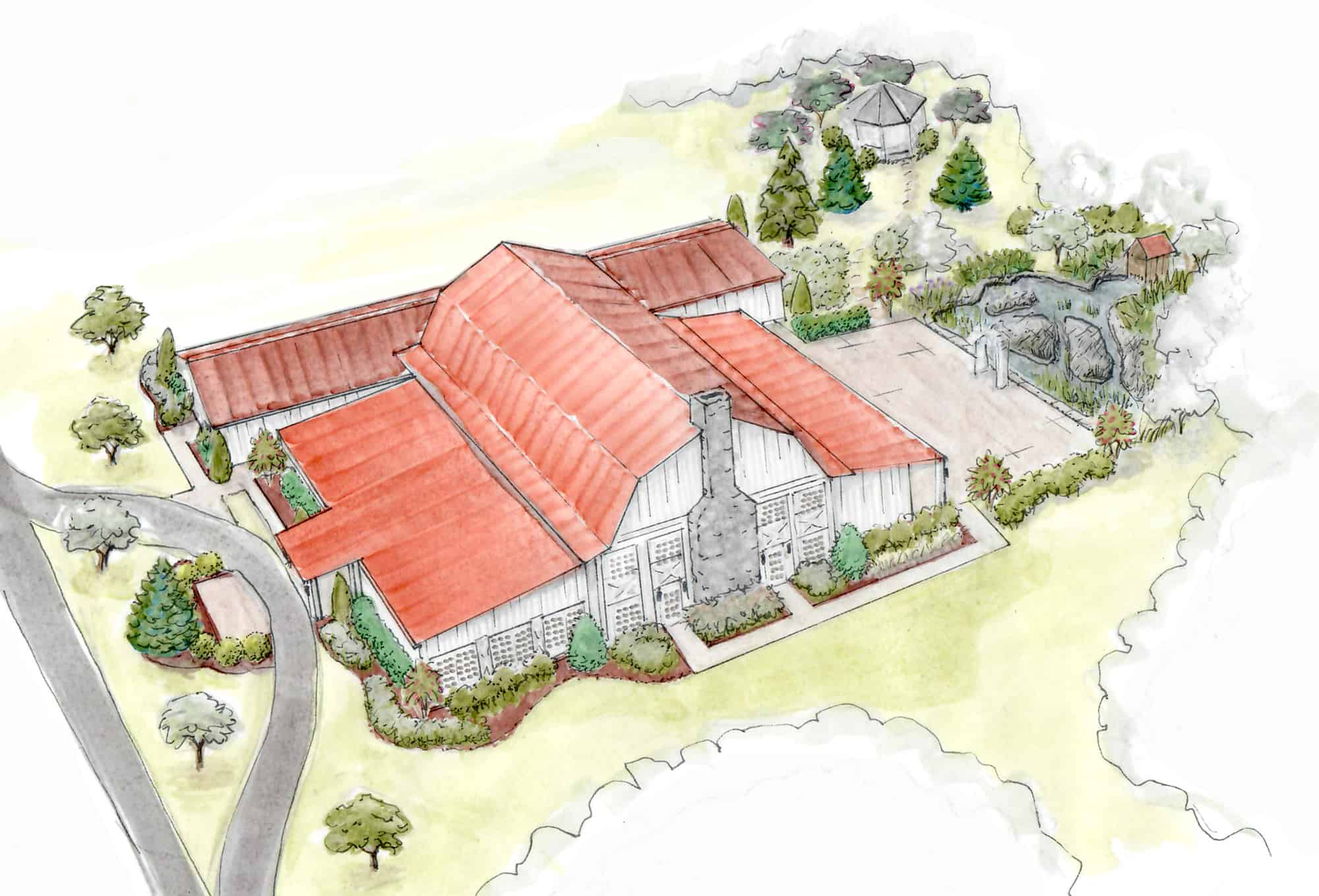 water color red roof party barn mass timber