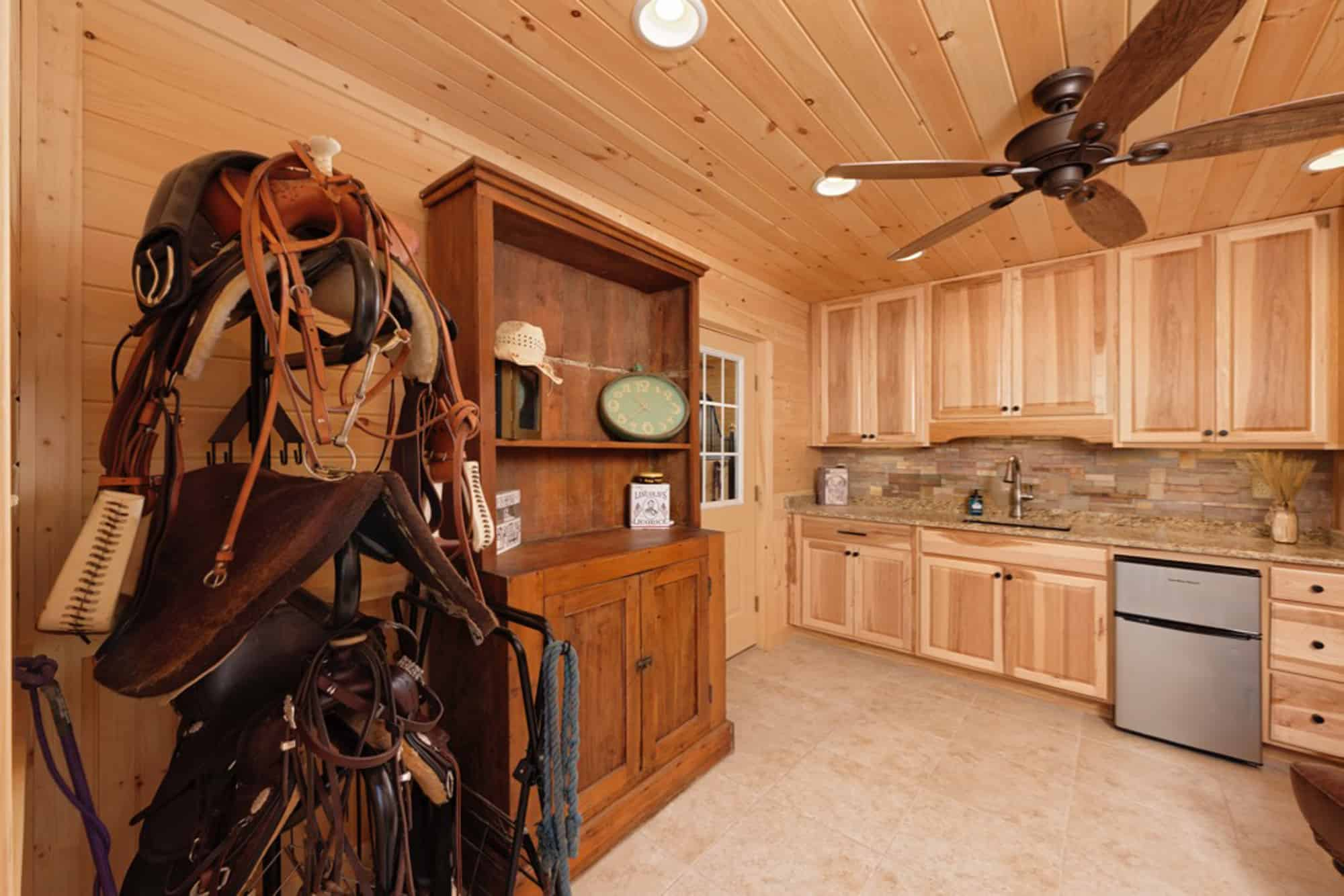 tack room kitchenette ceiling fan saddle
