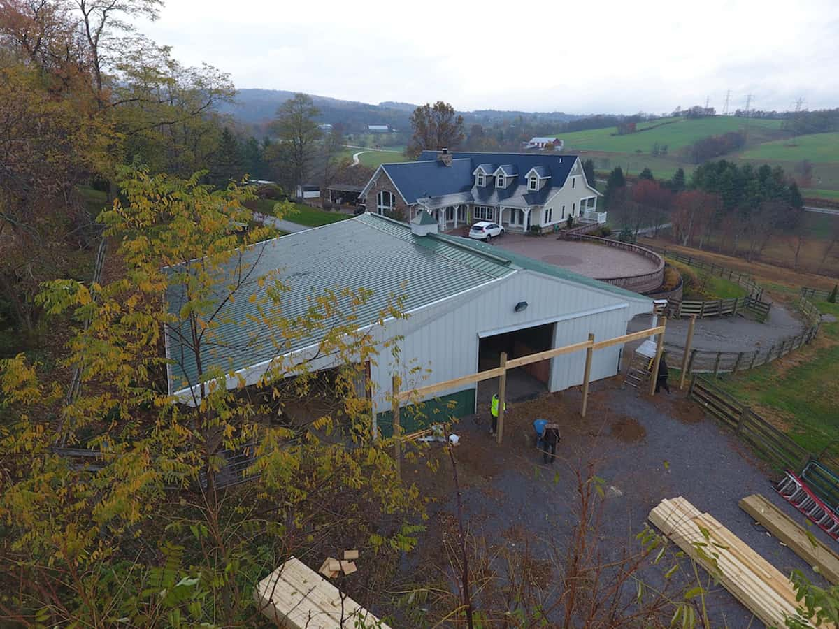 horse stalls green roof cupola drone