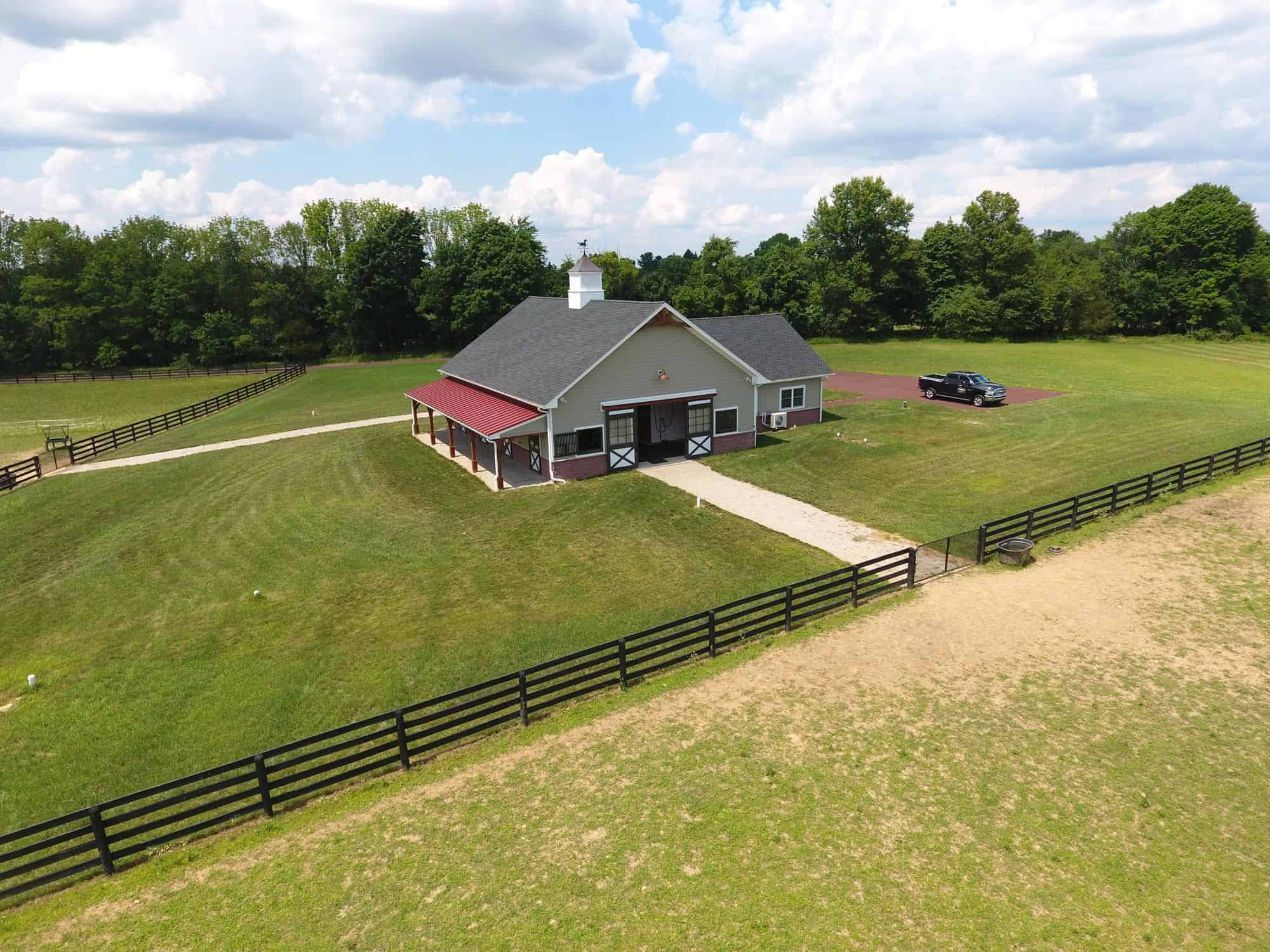 horse stalls cupola drone