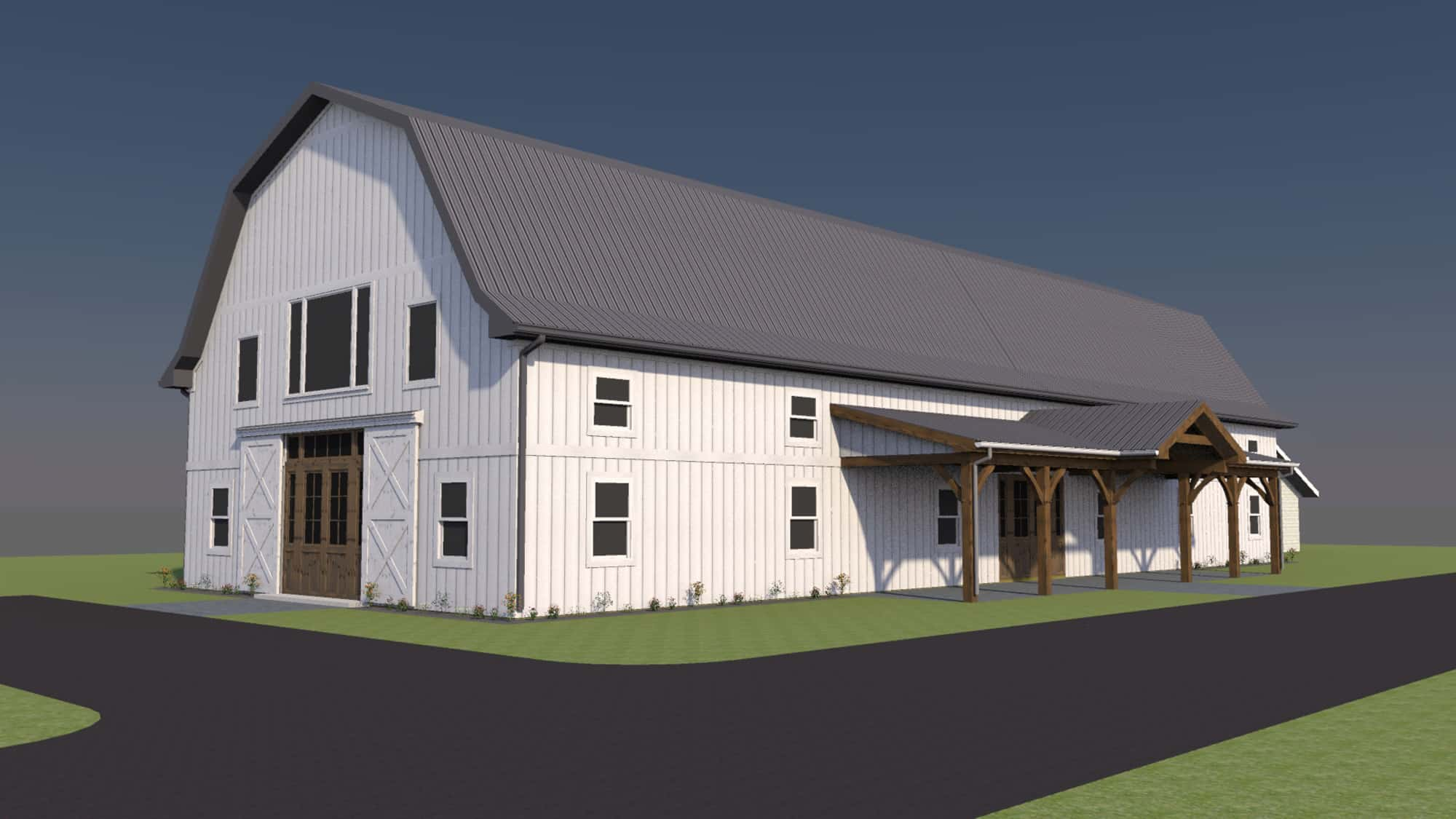party barn metal roof mass timber