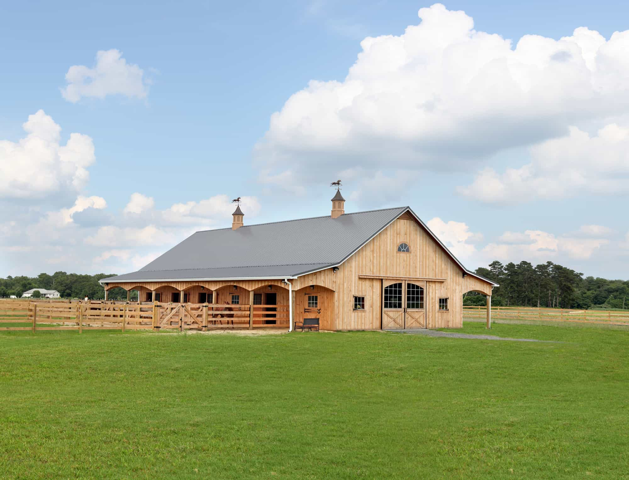 natural wood cupola barn door horse stalls
