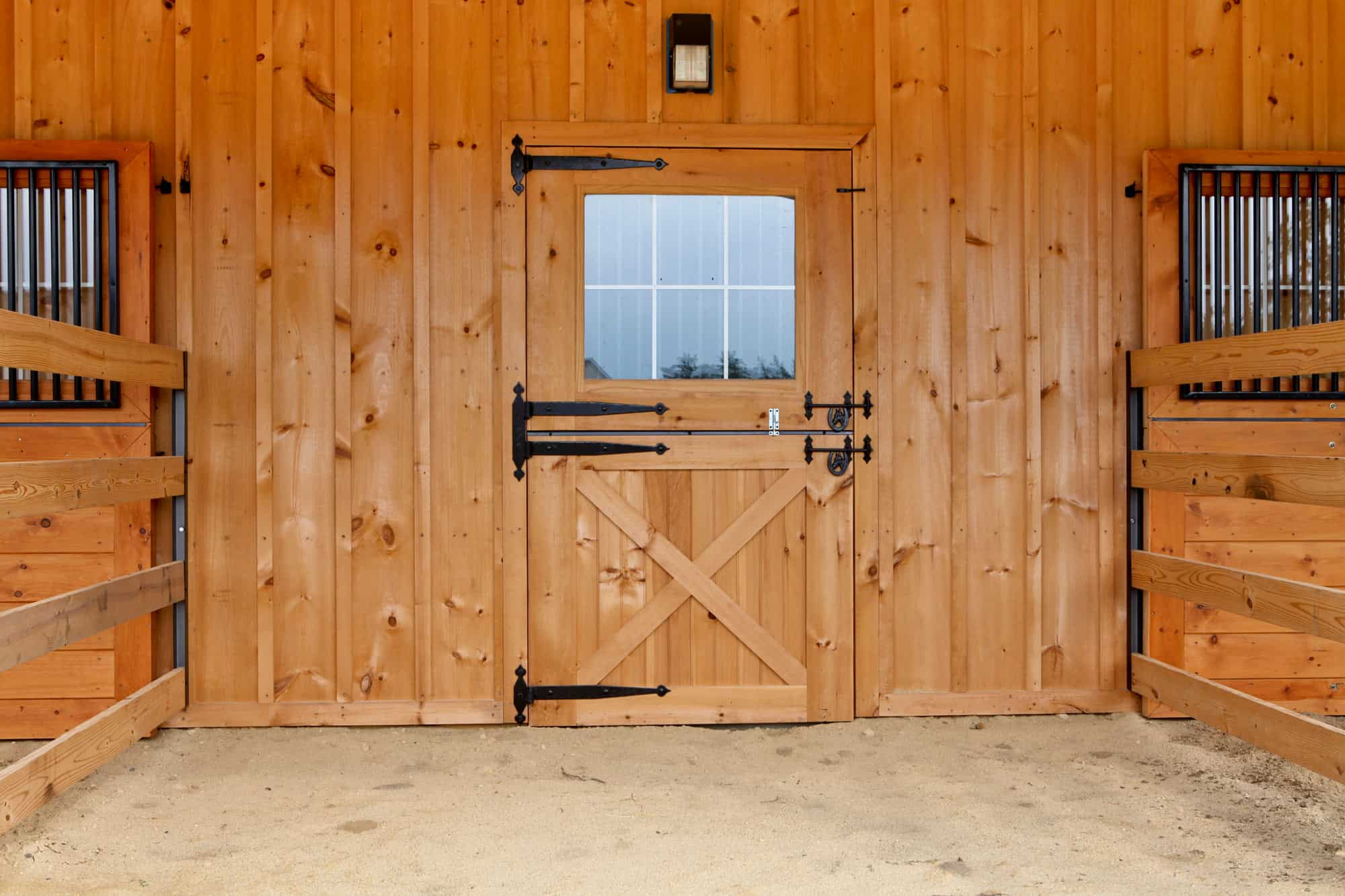 white pine horse stalls dutch door