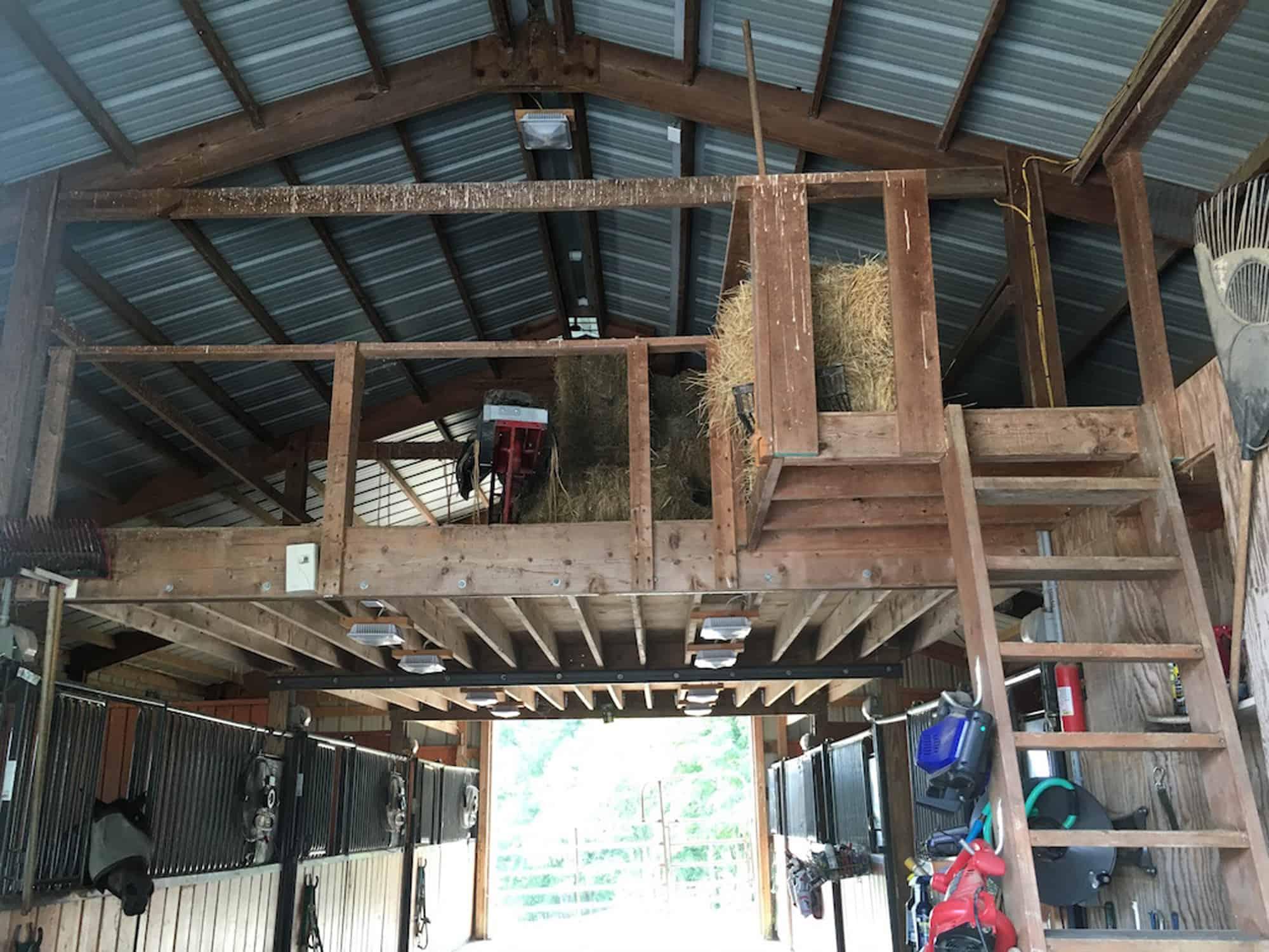 hay loft before restore horse stalls