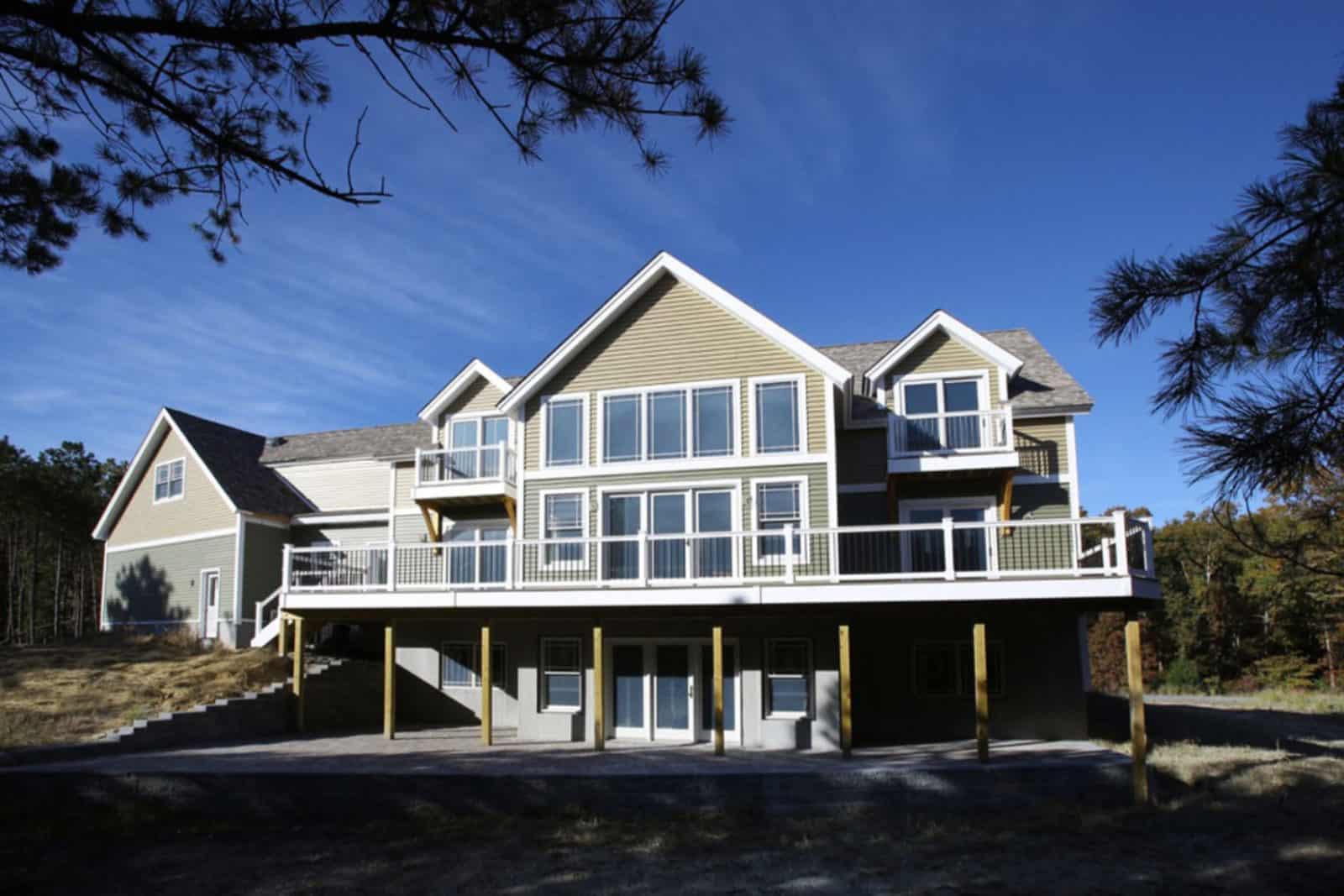 huge deck mass timber window wall