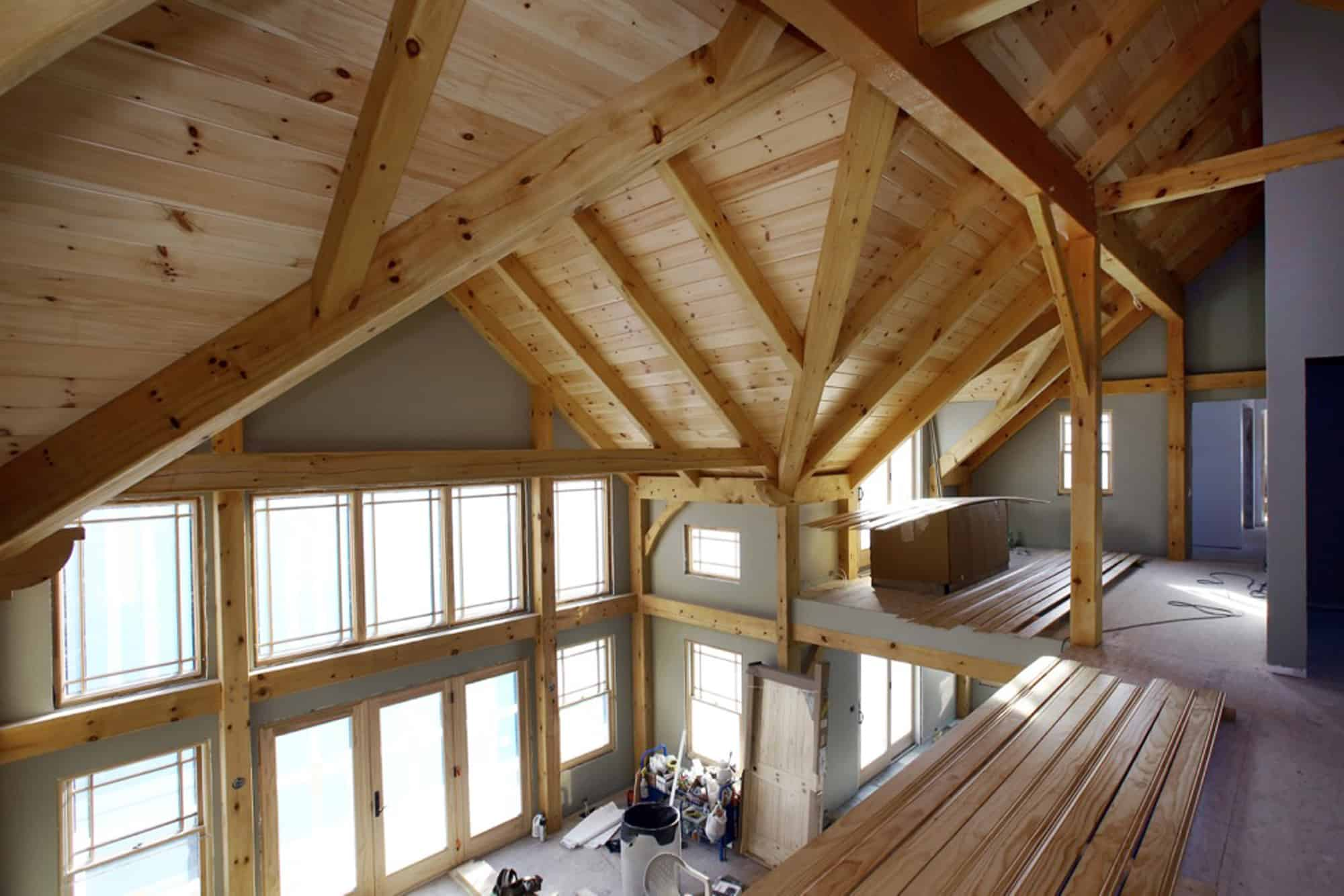 mass timber loft window wall