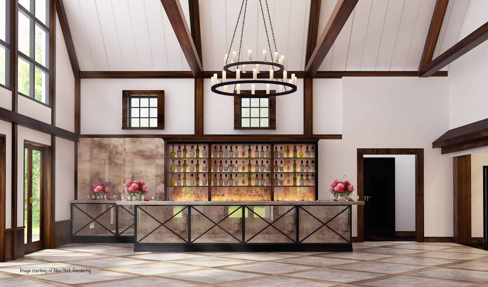 bar chandelier mass timber party barn