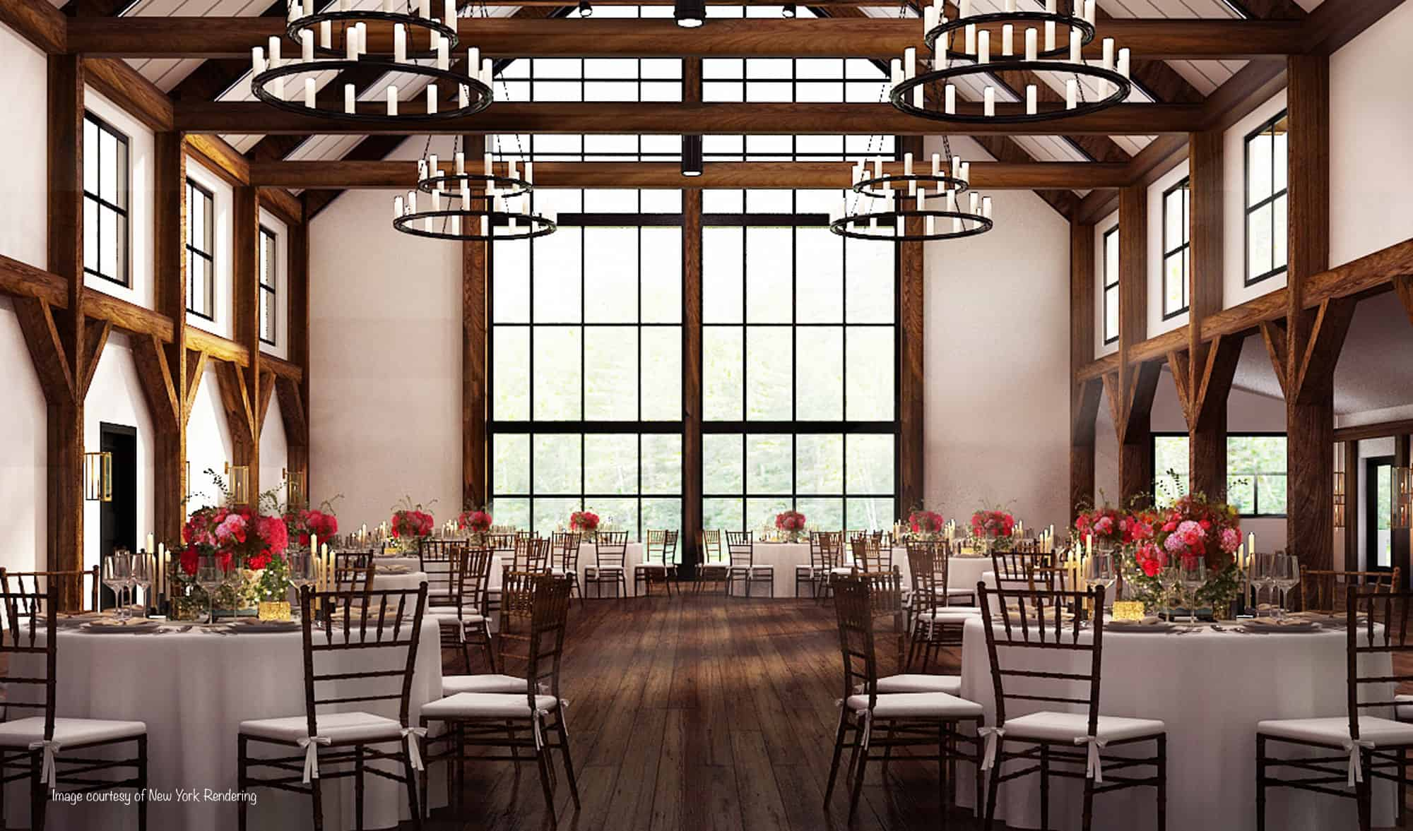 window wall mass timber party barn chandelier