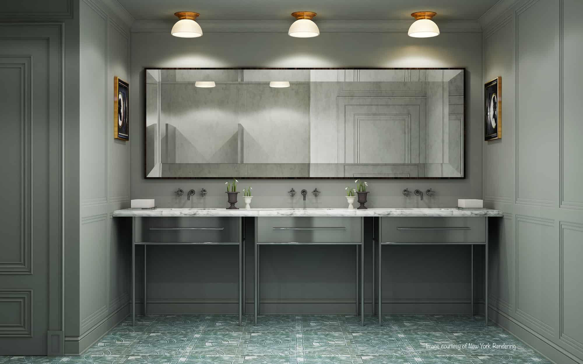 bathroom triple vanity quartz
