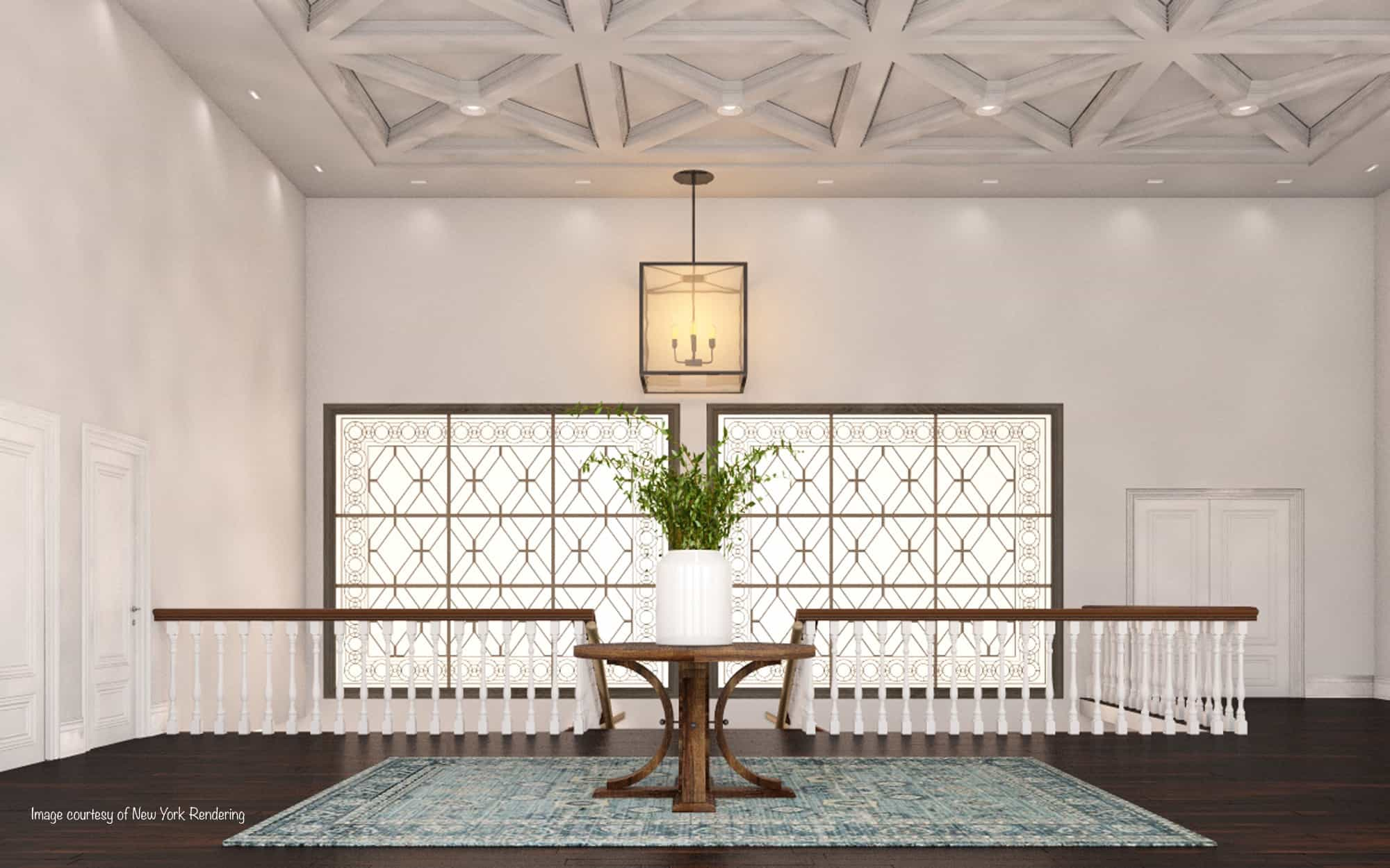 lobby chandelier decorative window mass timber