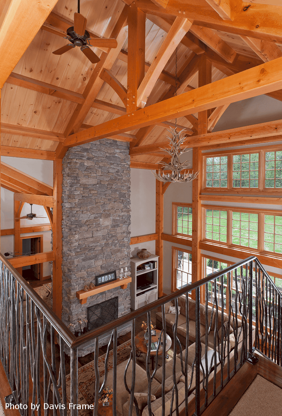 mass timber loft fireplace window wall