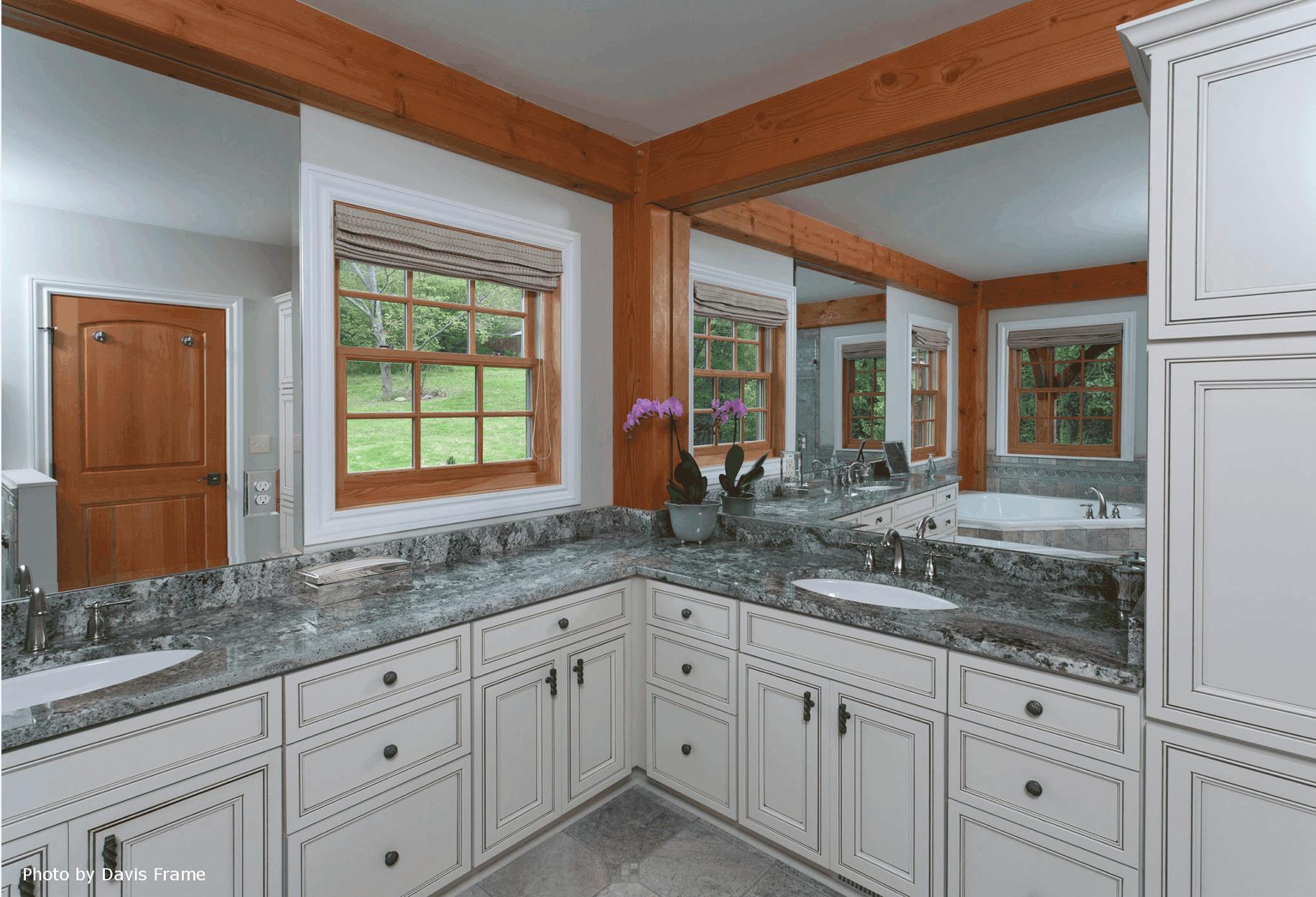 mass timber granite master bathroom