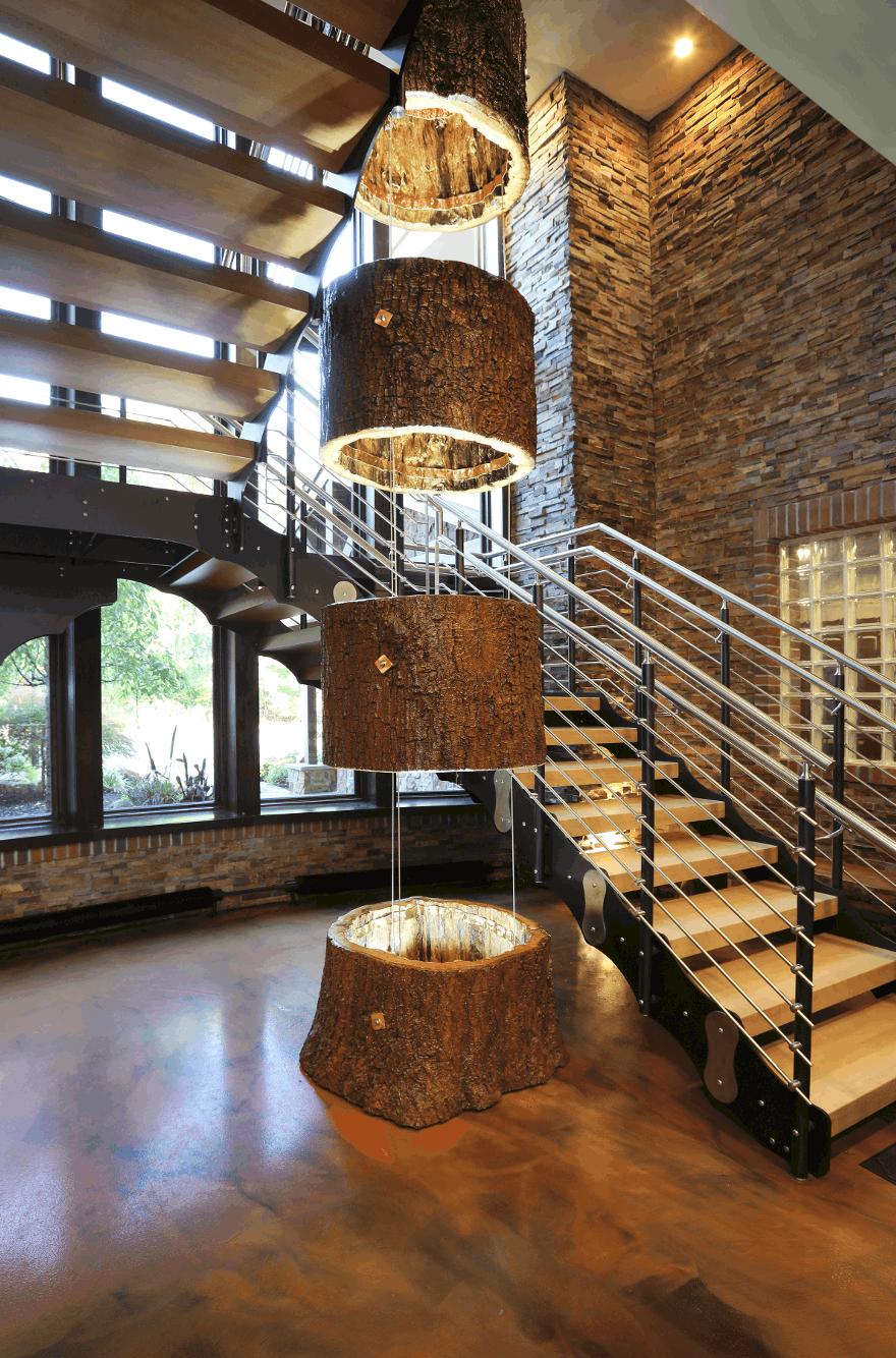 mass timber stairway unique lighting