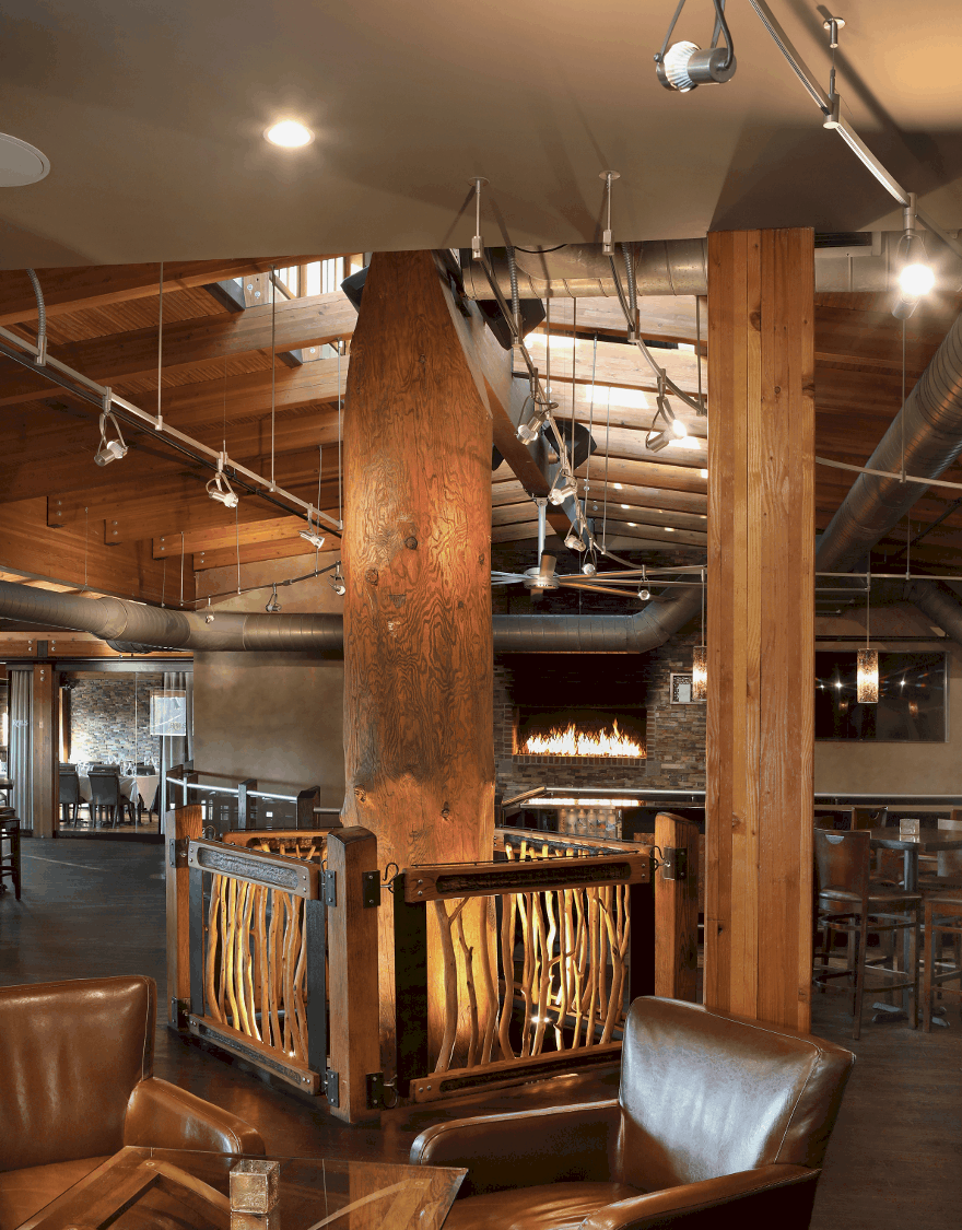 mass timber unique pillar fireplace