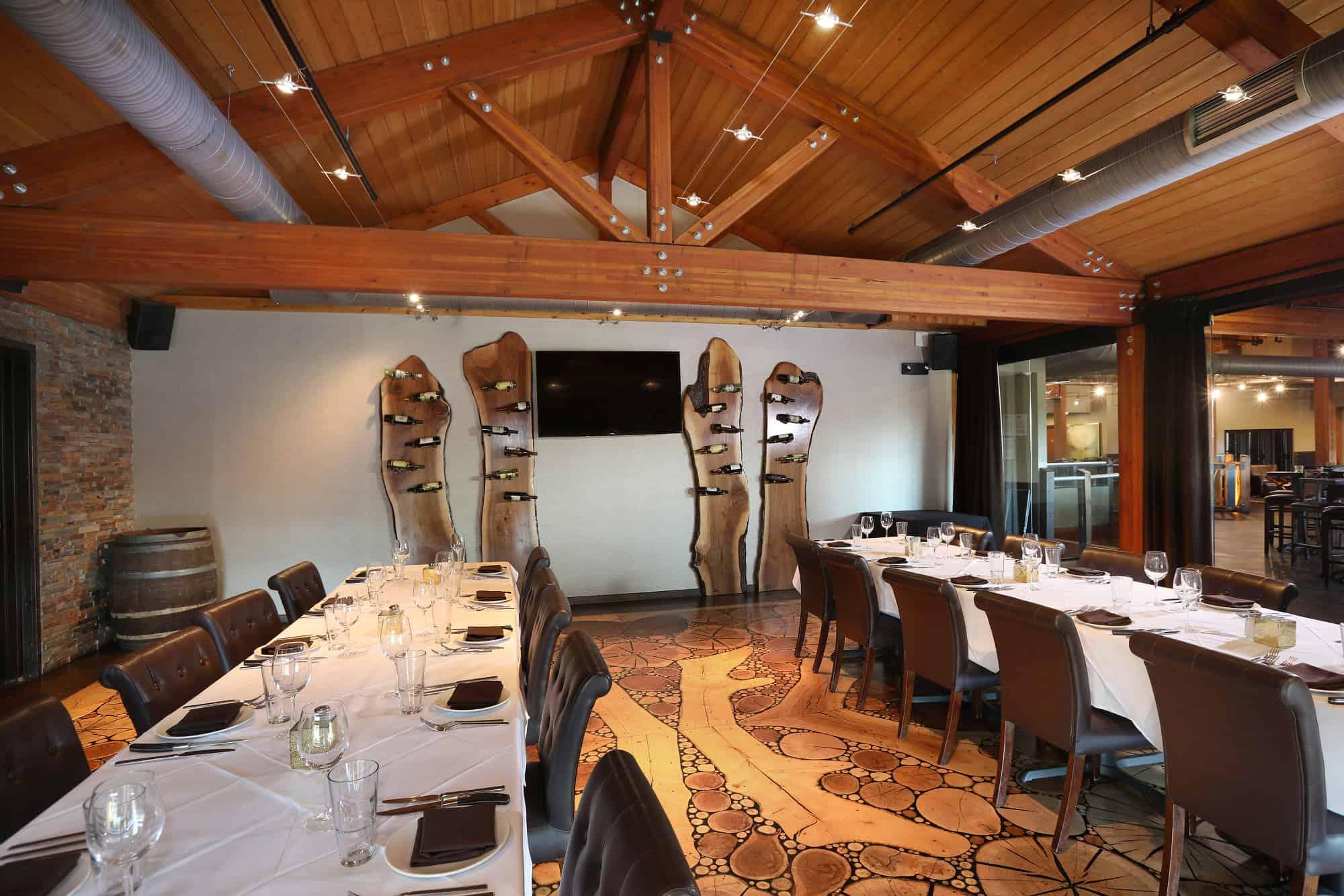 mass timber wine rack wood floor