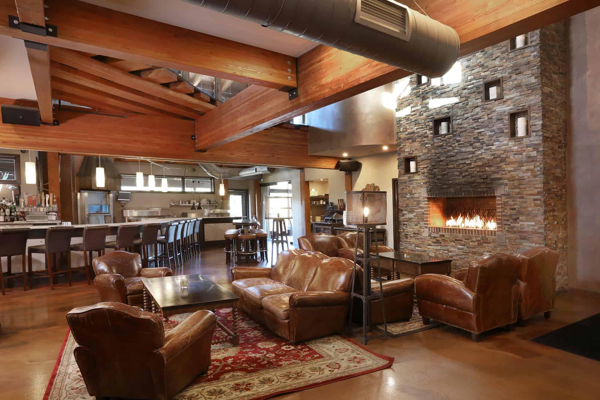 restaurant fireplace mass timber