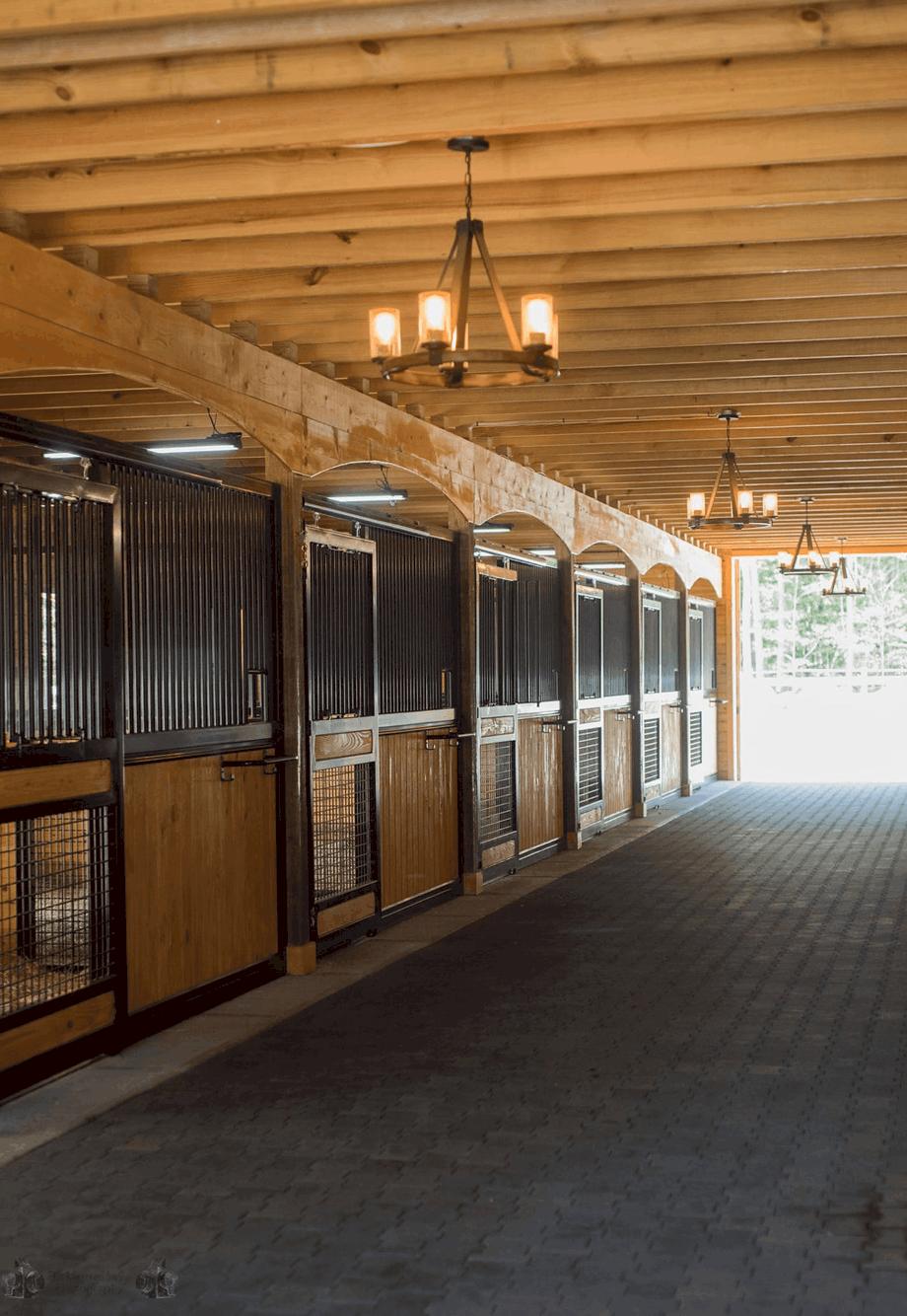 horse stalls chandelier tunnel