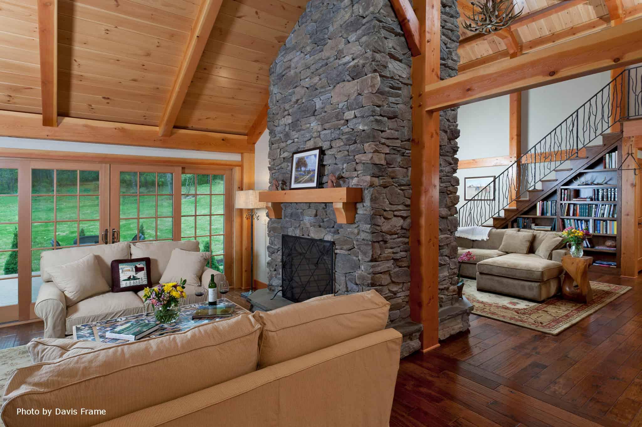 mass timber fireplace window wall