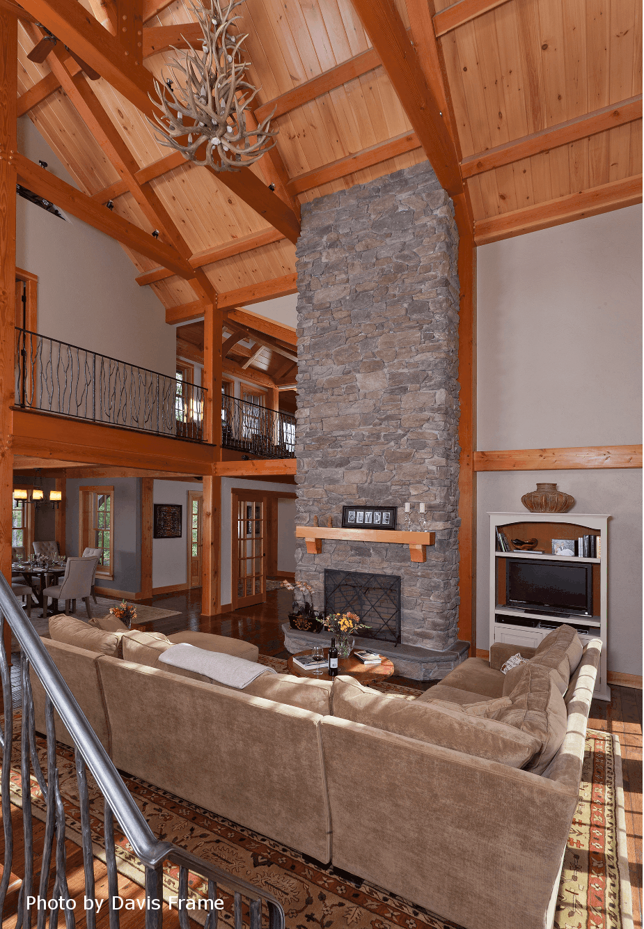 mass timber fireplace cathedral ceiling
