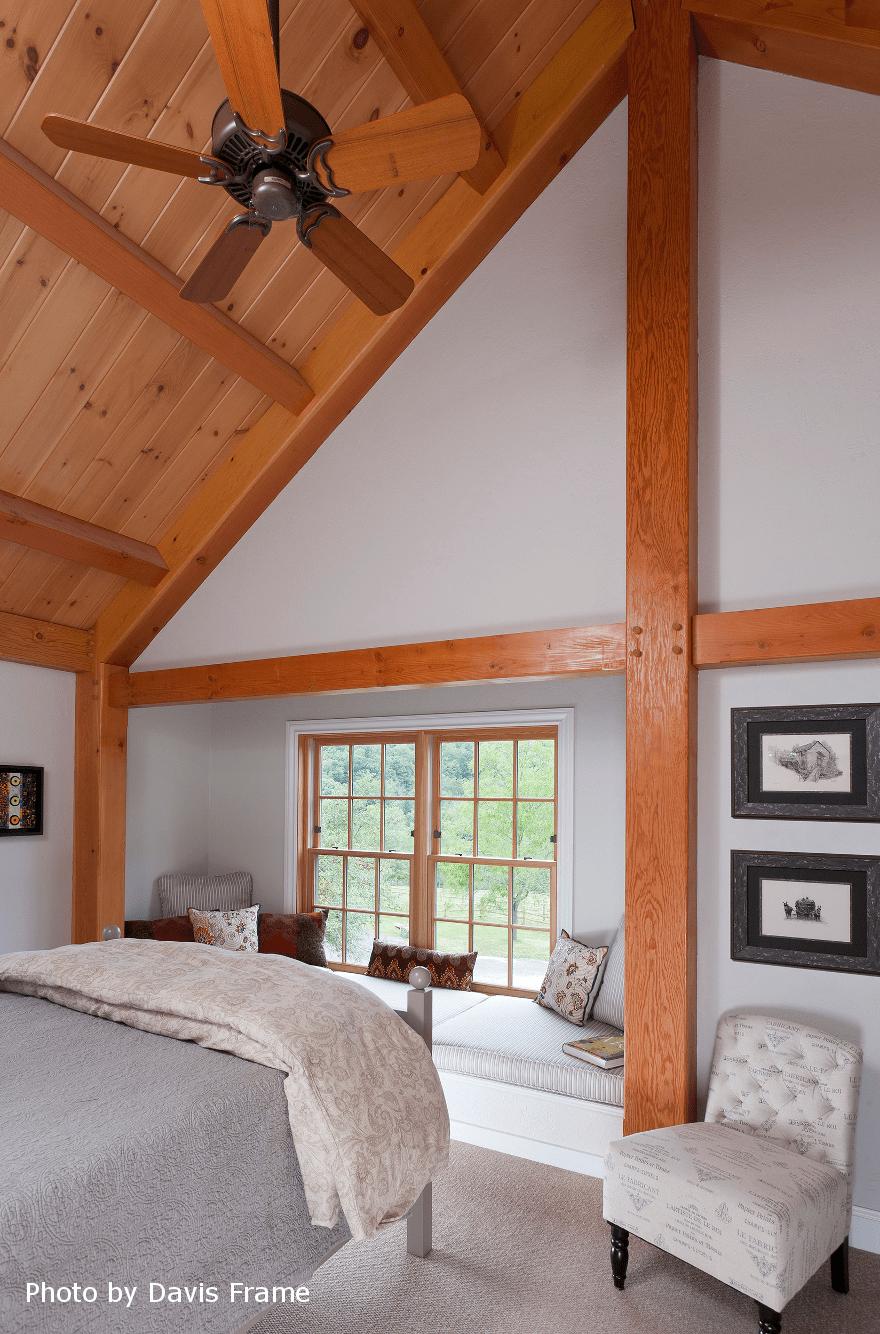 mass timber bedroom ceiling fan