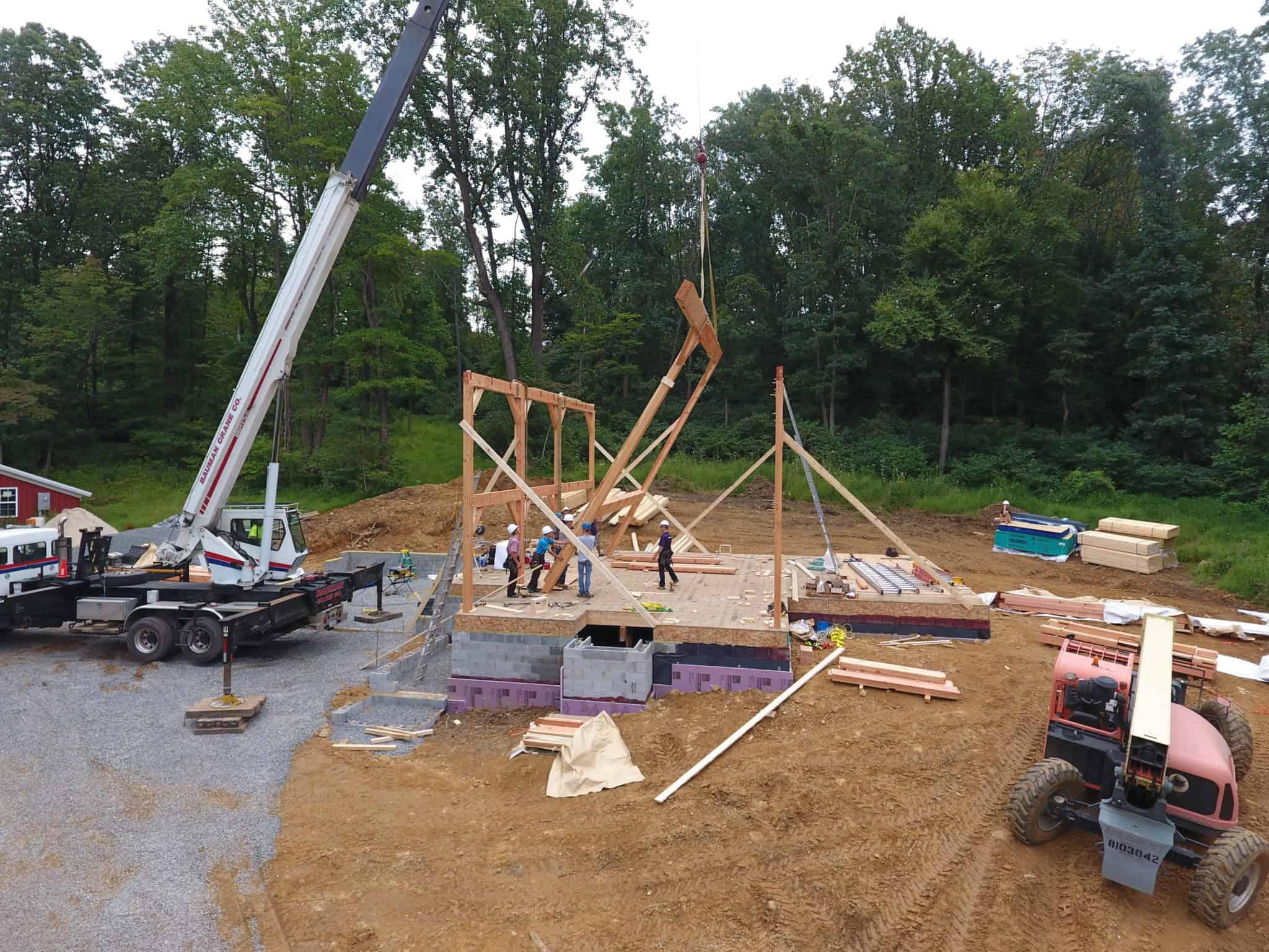 mass timber amish crane