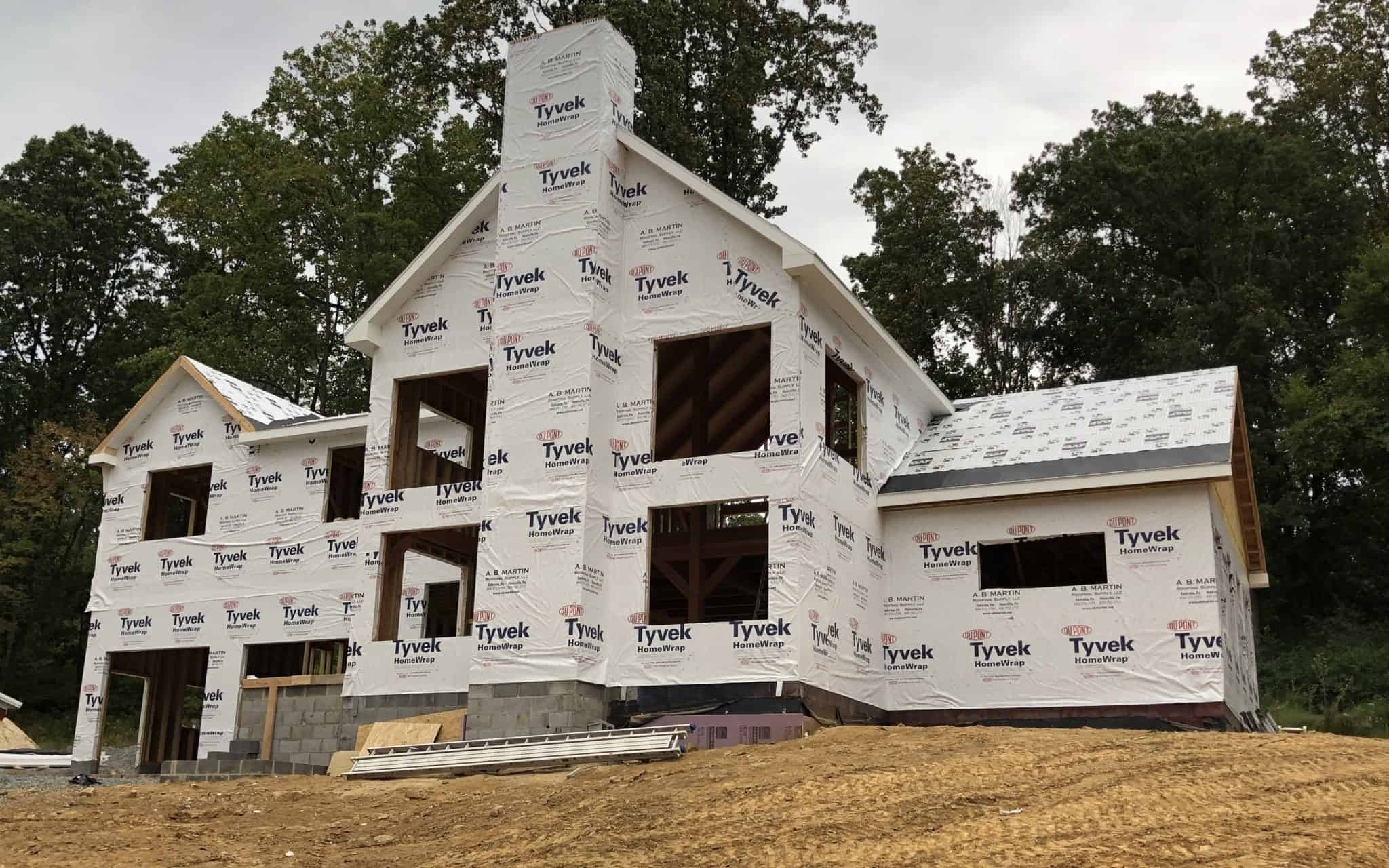 tyvek wrapped house