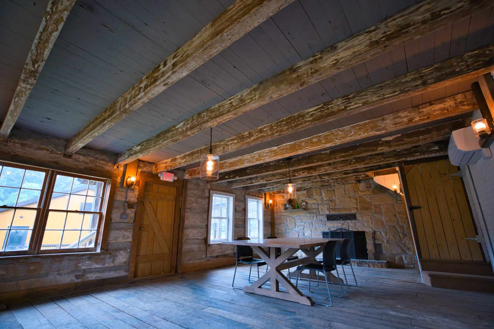 ceiling beam conference room fireplace