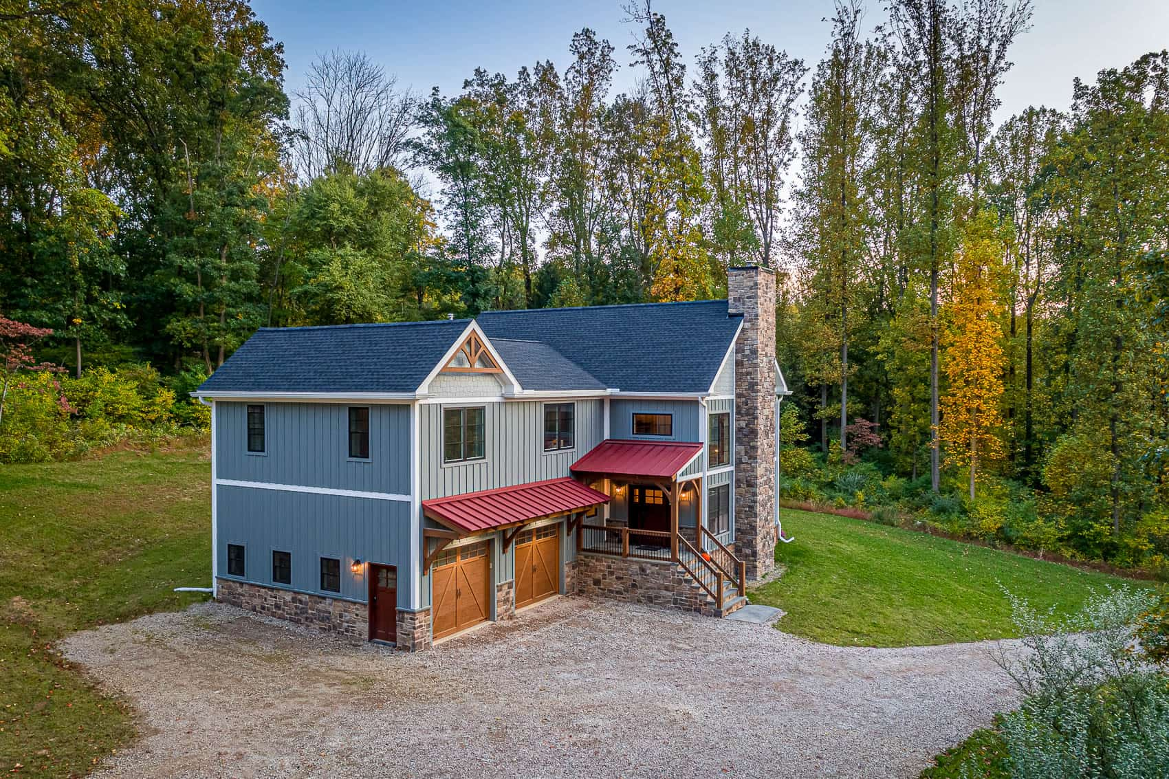 woods red roof mass timber chimney
