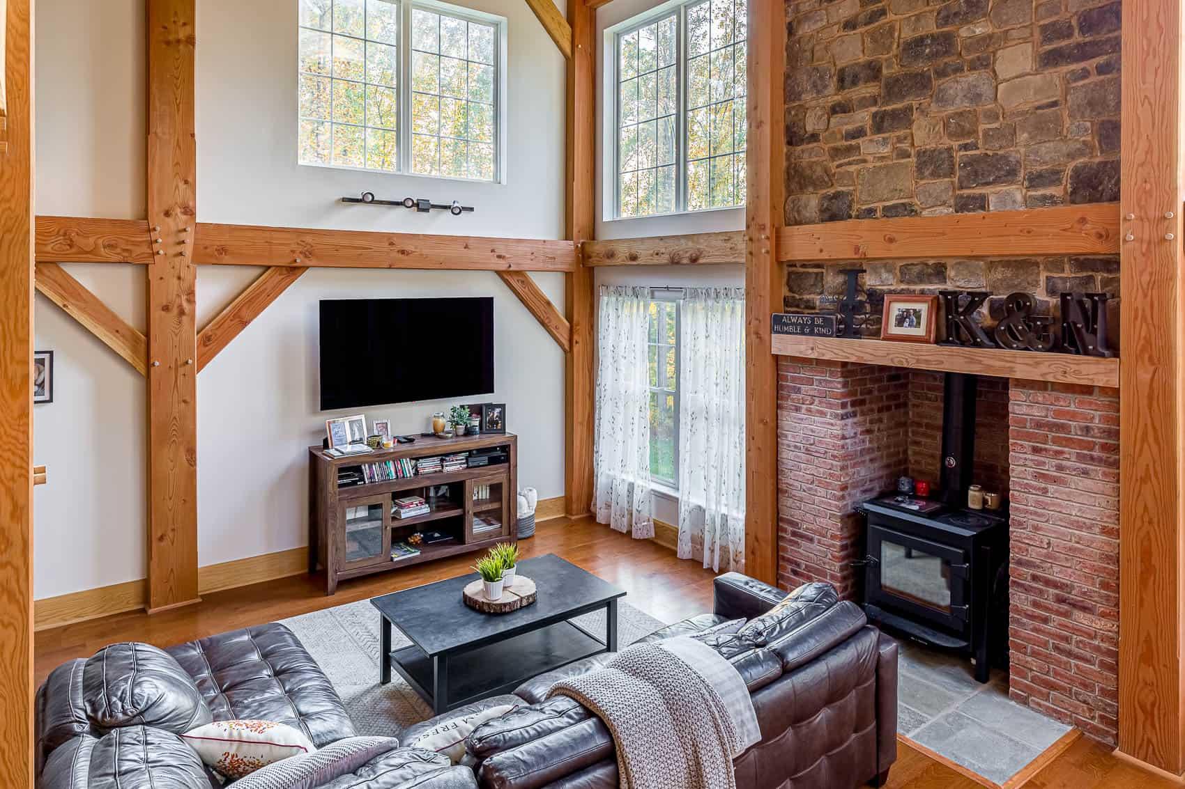 brick wood stove stone chimney mass timber