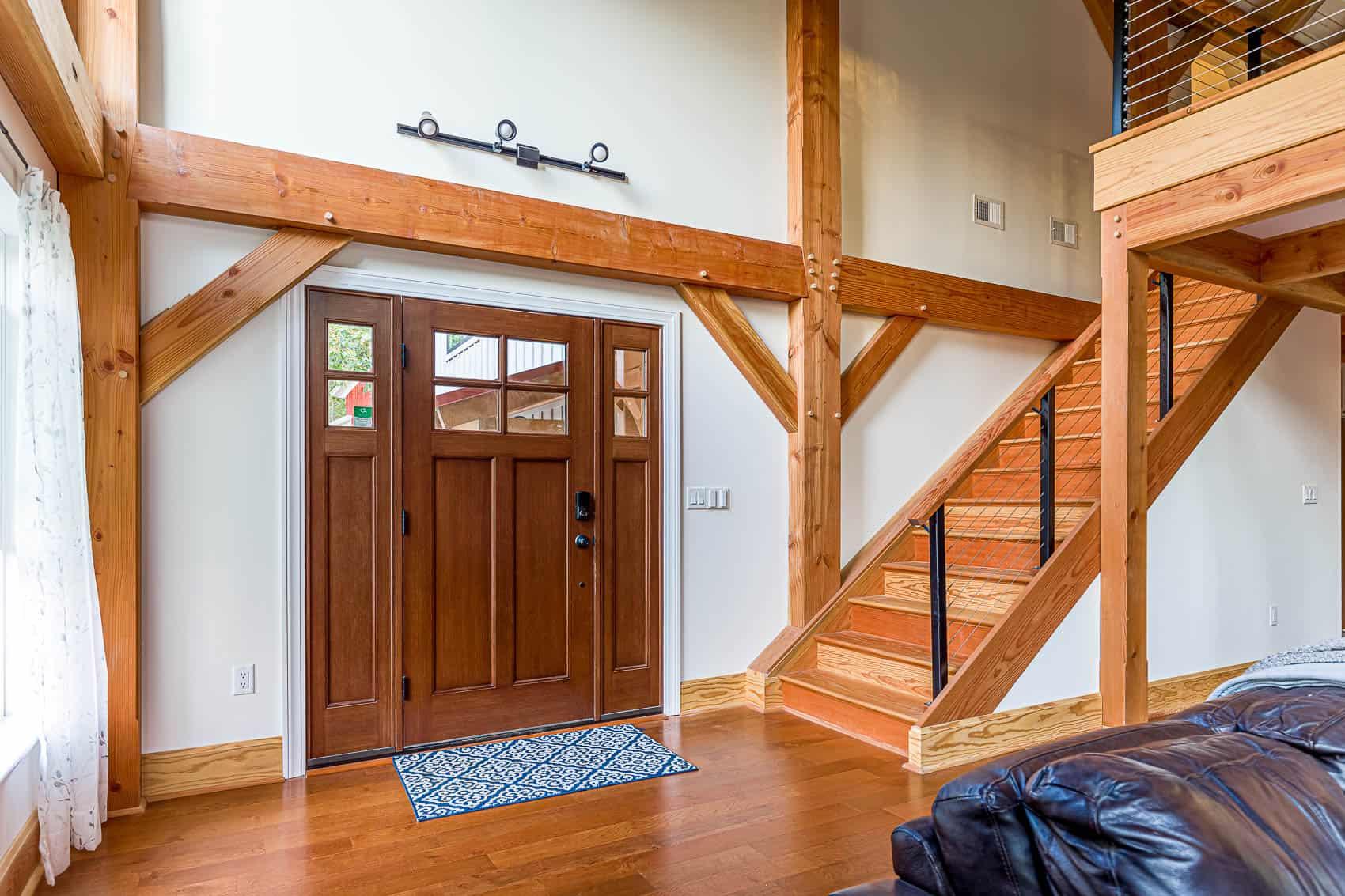 front door mass timber stairway