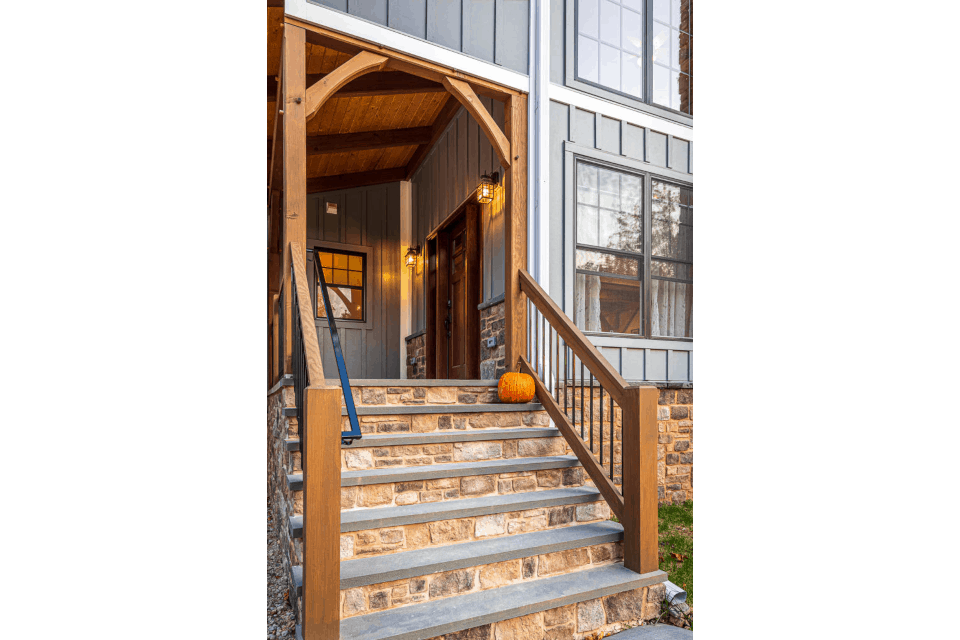 timber frame porch stone stairs