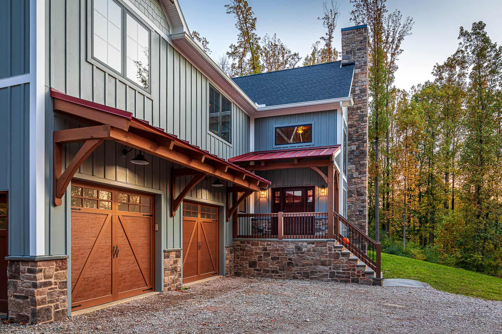 dusk red roof mass timber chimney