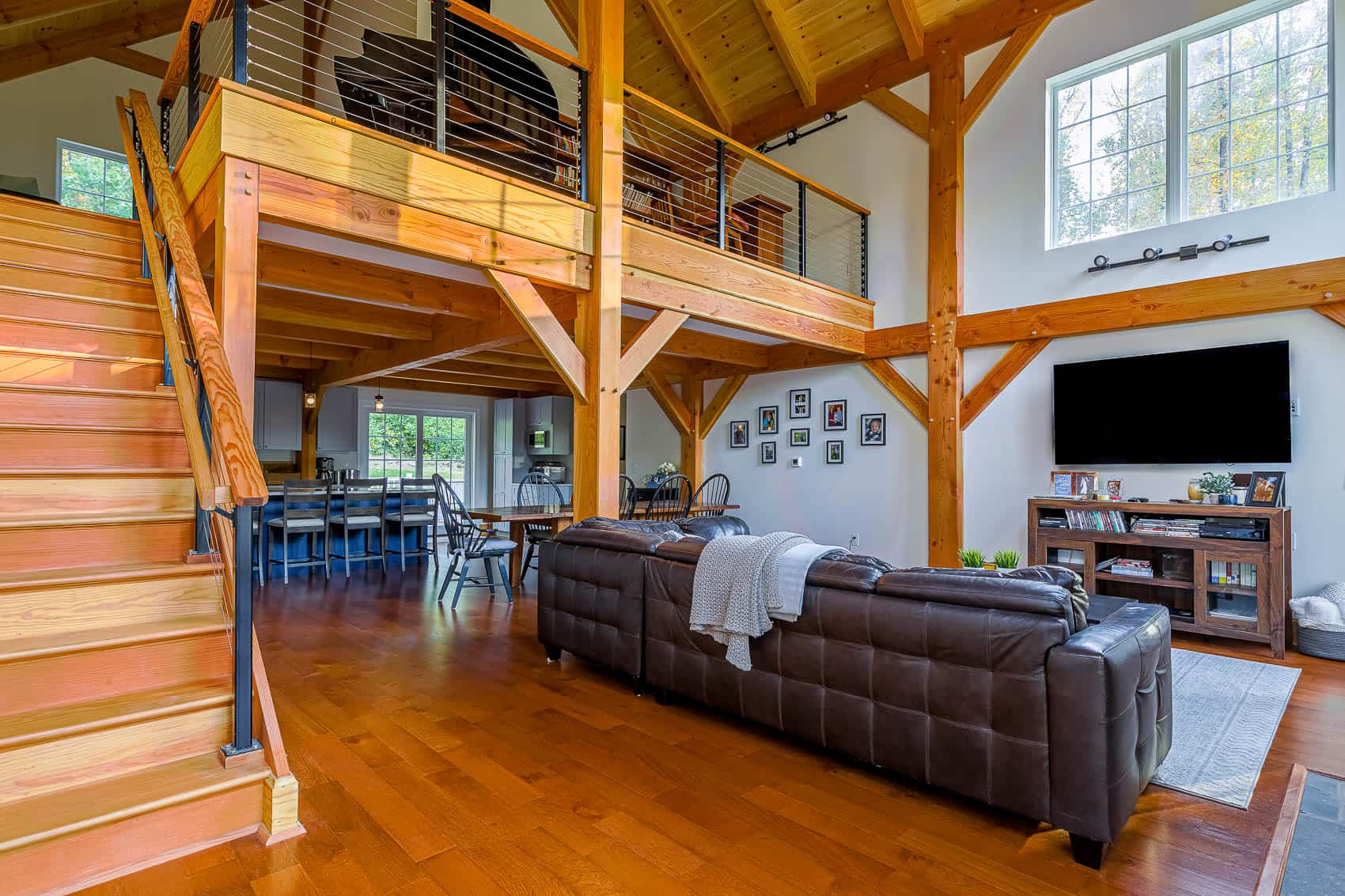 flat screen mass timber leather couch
