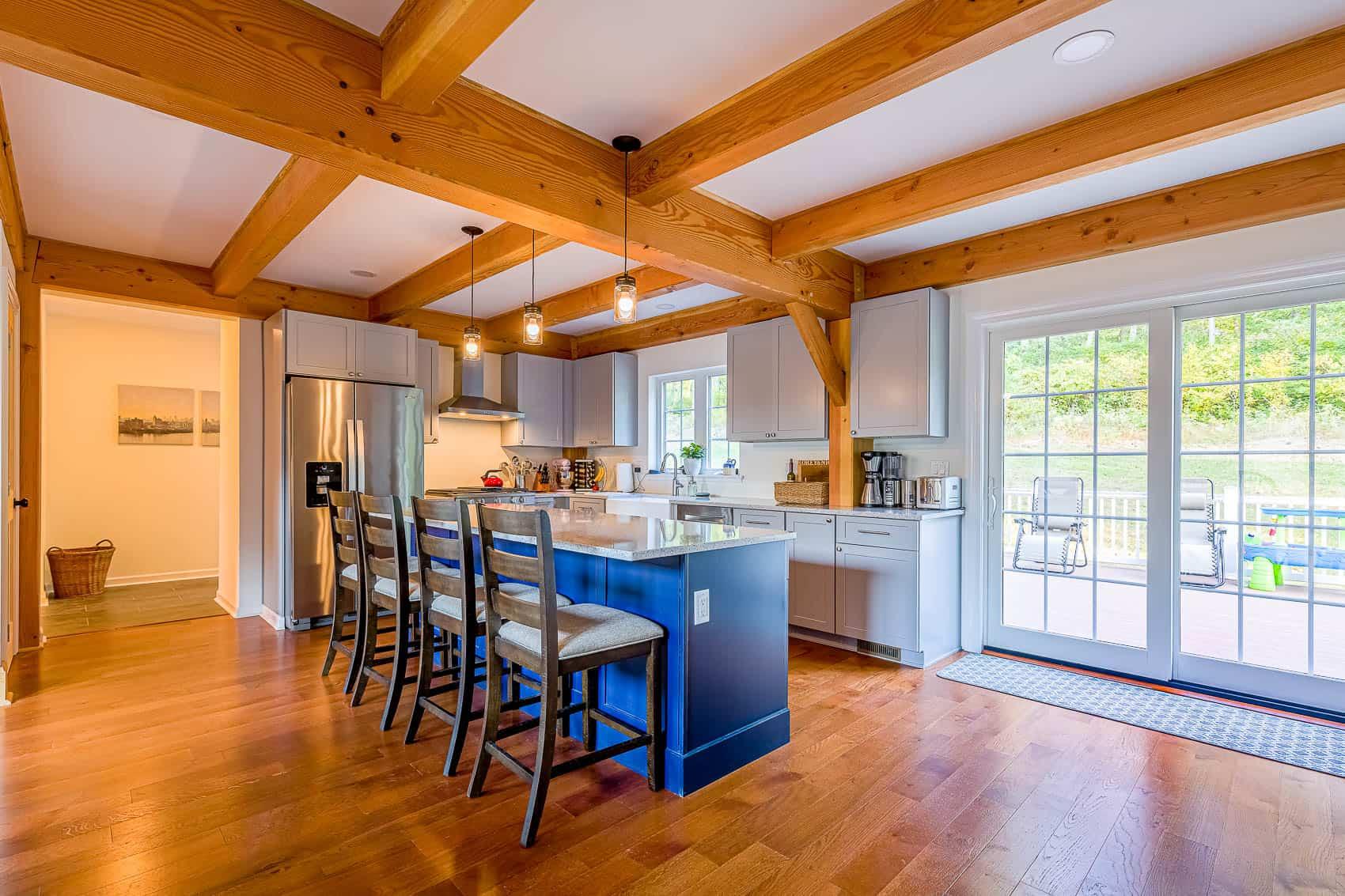 blue cabinets sliding doors mass timber