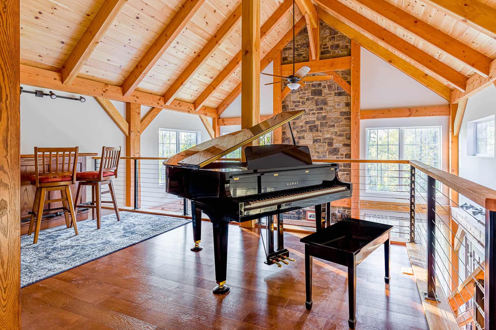 piano mass timber stone chimney