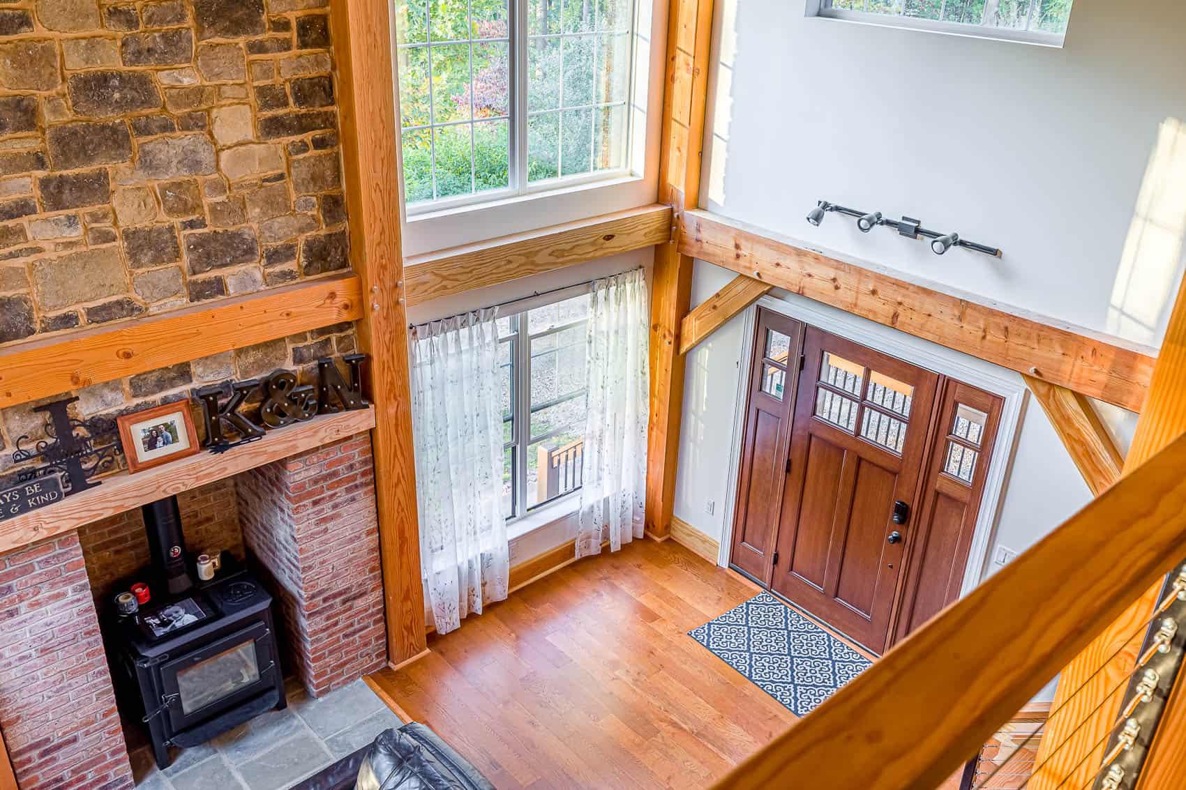 loft stonework wood stove