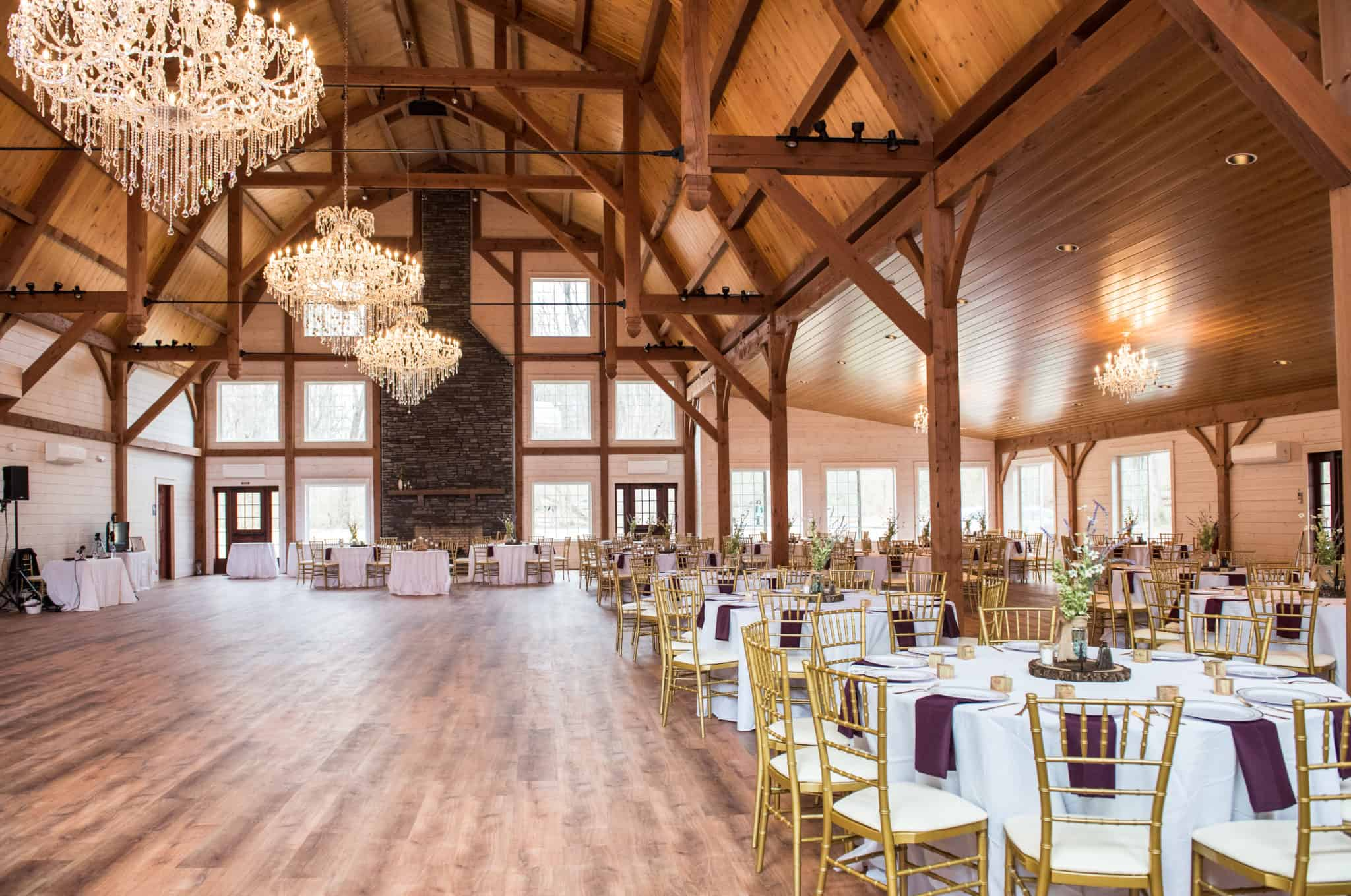 timber frame chandeliers dining hall