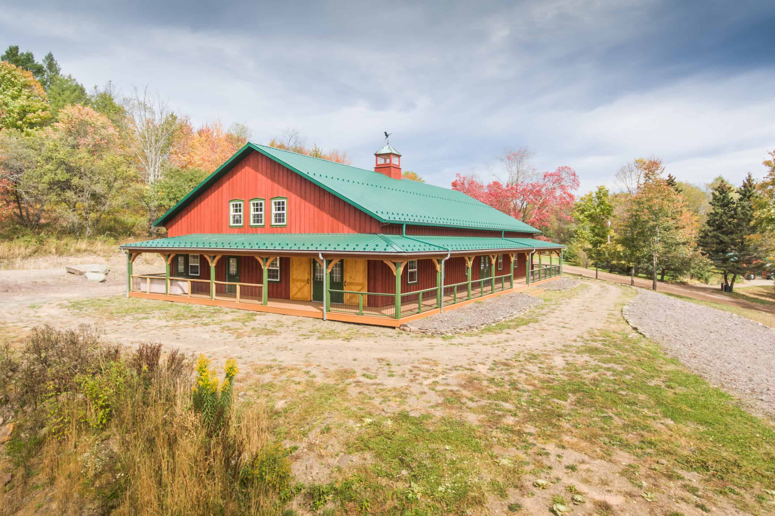 party barn red barn green roof fall leaves