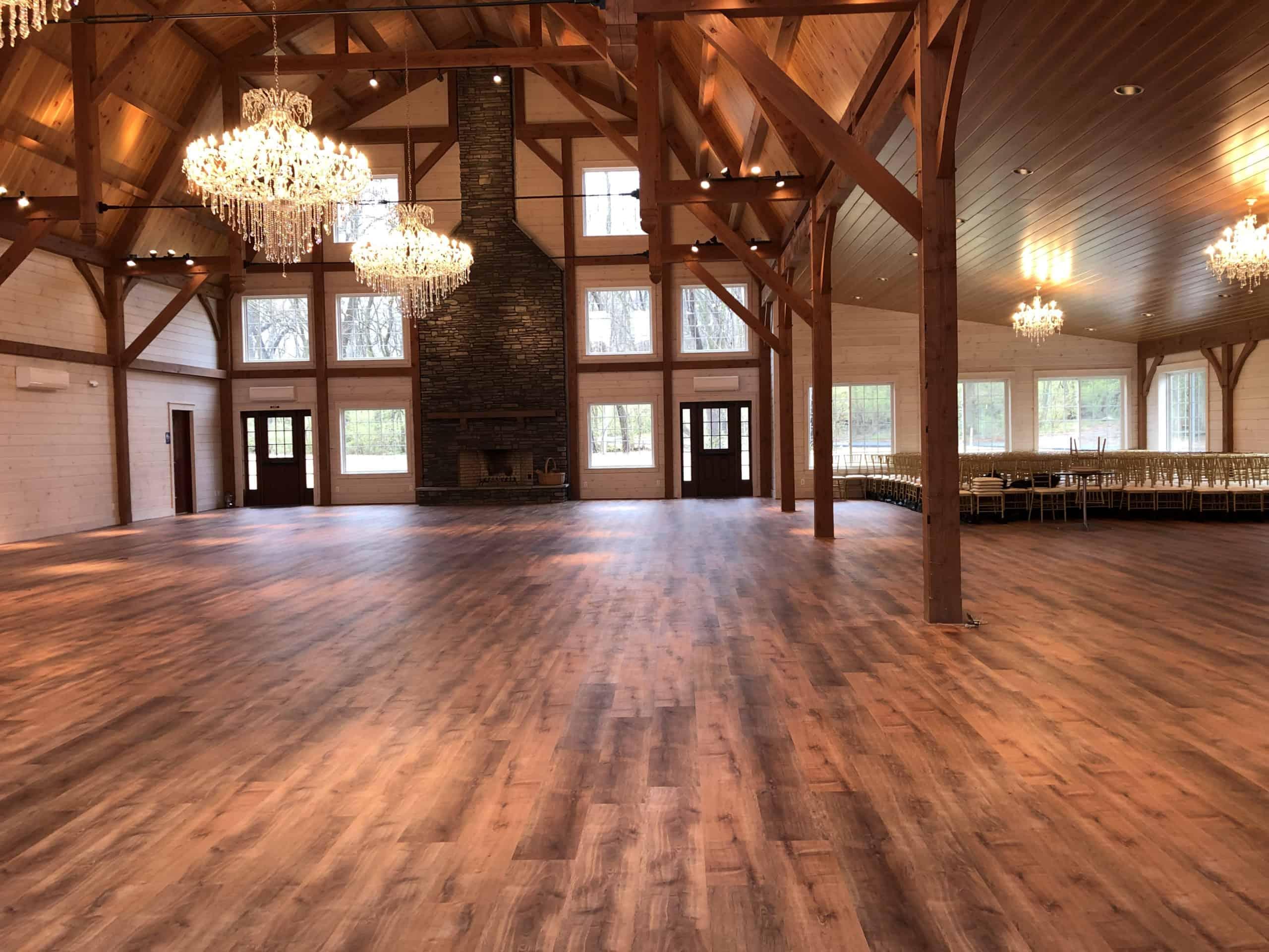 timber frame dining hall fireplace