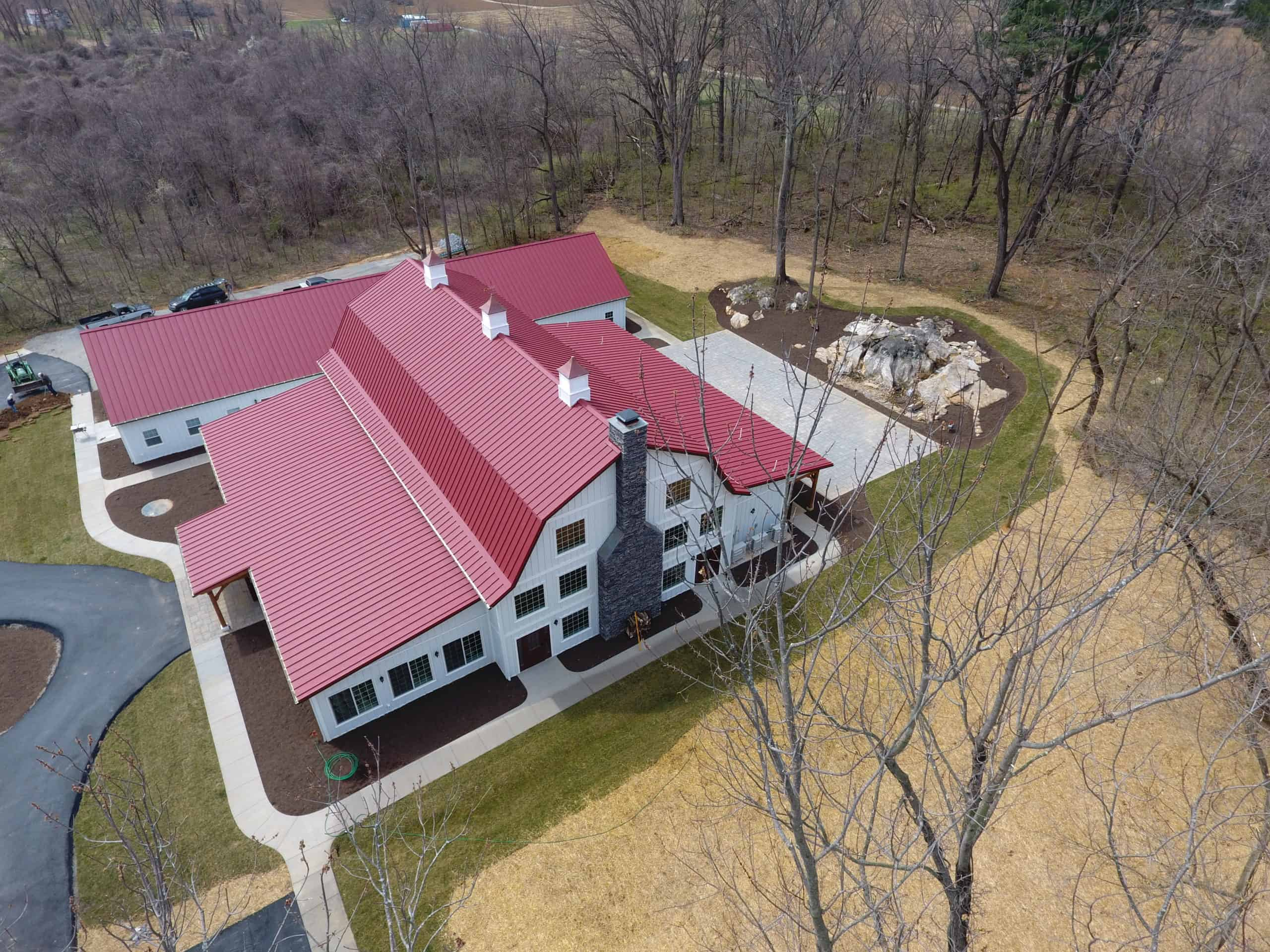 drone red roof barn