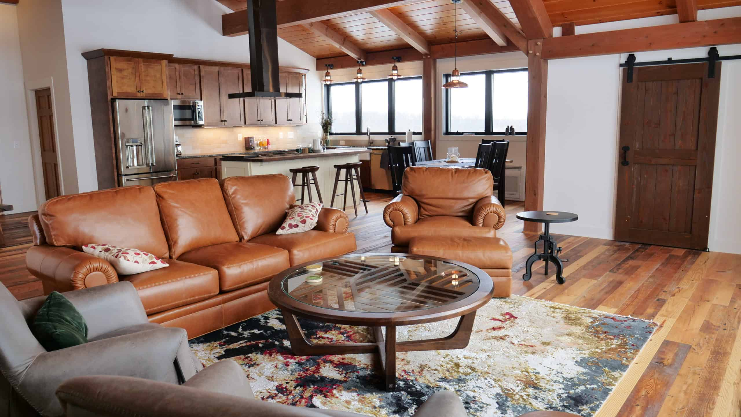 leather couch kitchen