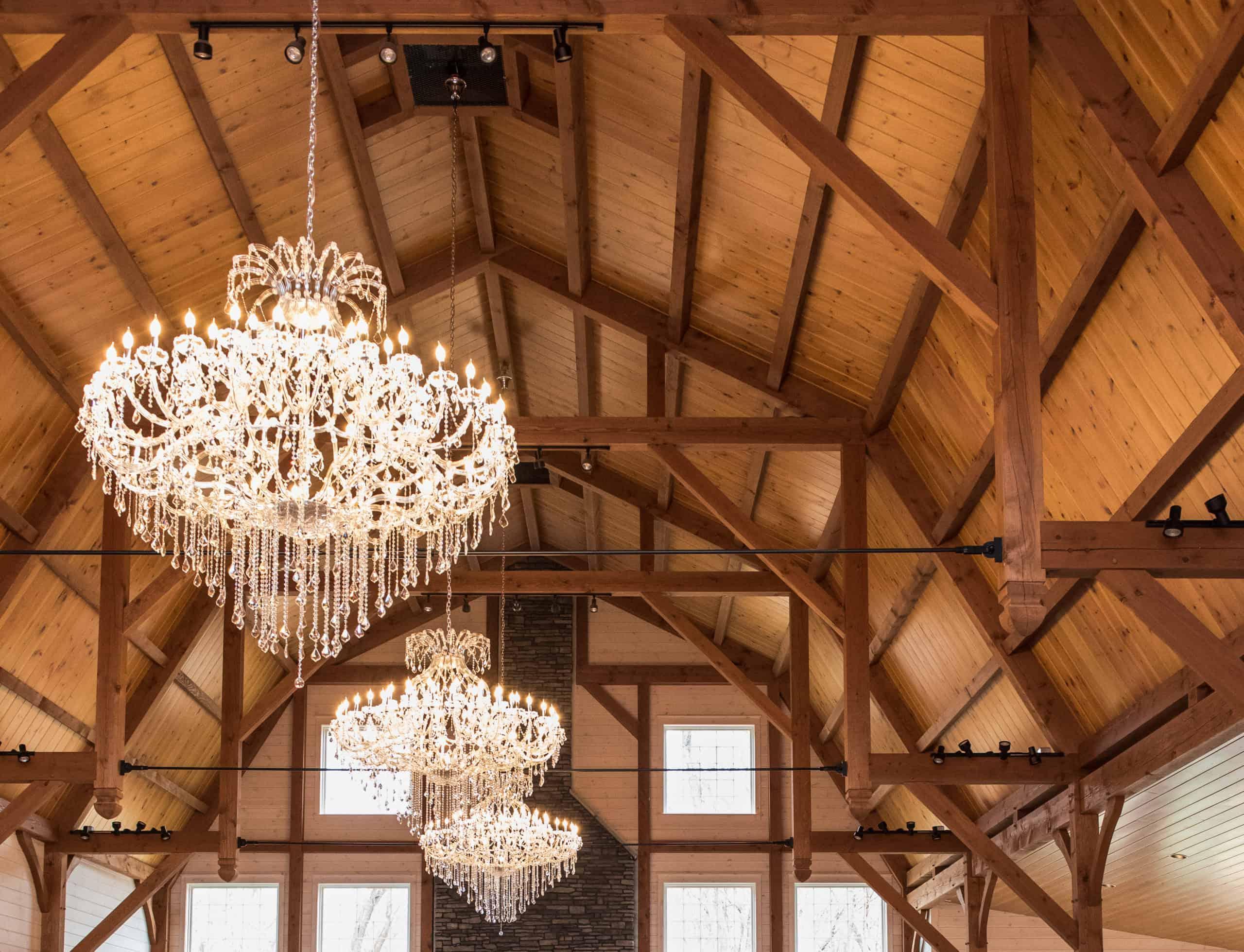 timber frame vaulted ceiling chandelier